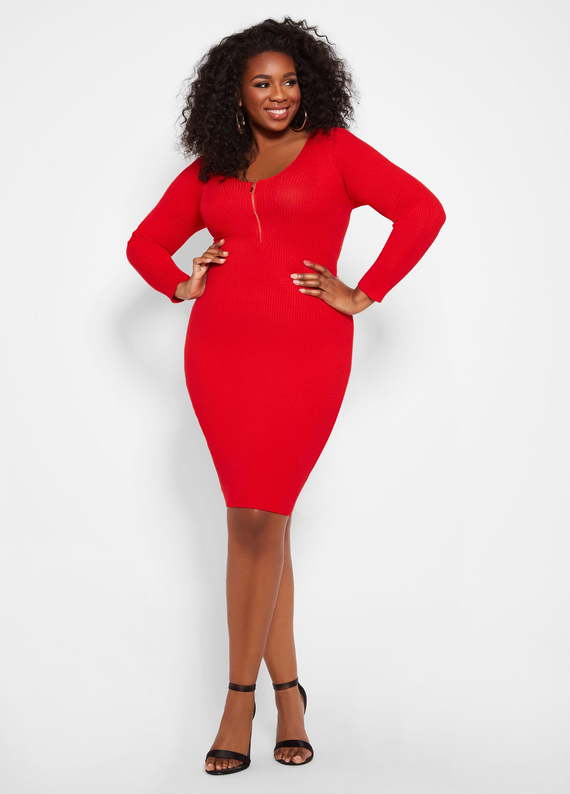 5c14feba44 Ashley Stewart Plus Size Zip Front Ribbed Sweater Dress in Red - Lyst