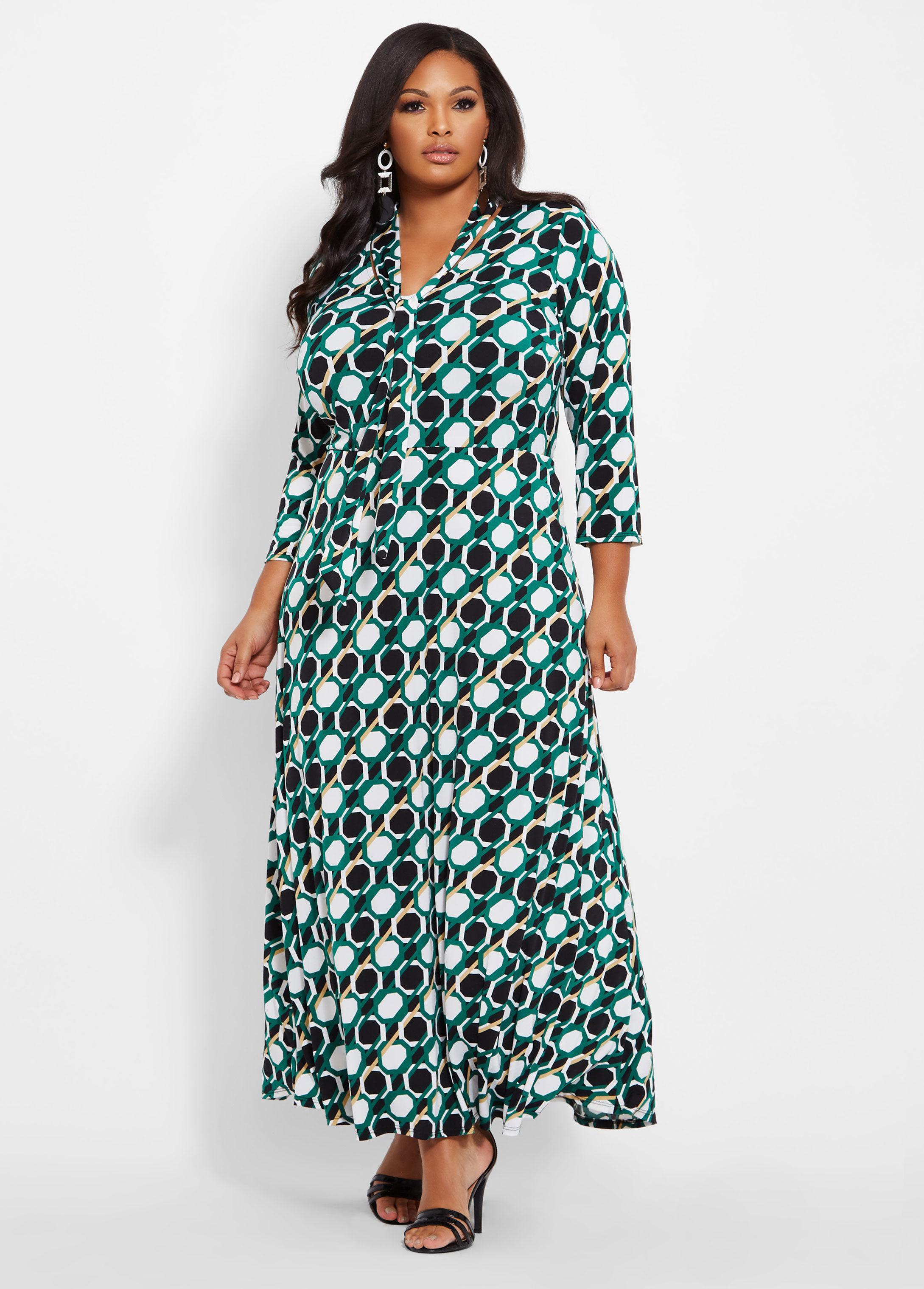 a859cf242747 Ashley Stewart Plus Size Tie Neck Geo Print Maxi Dress - Lyst