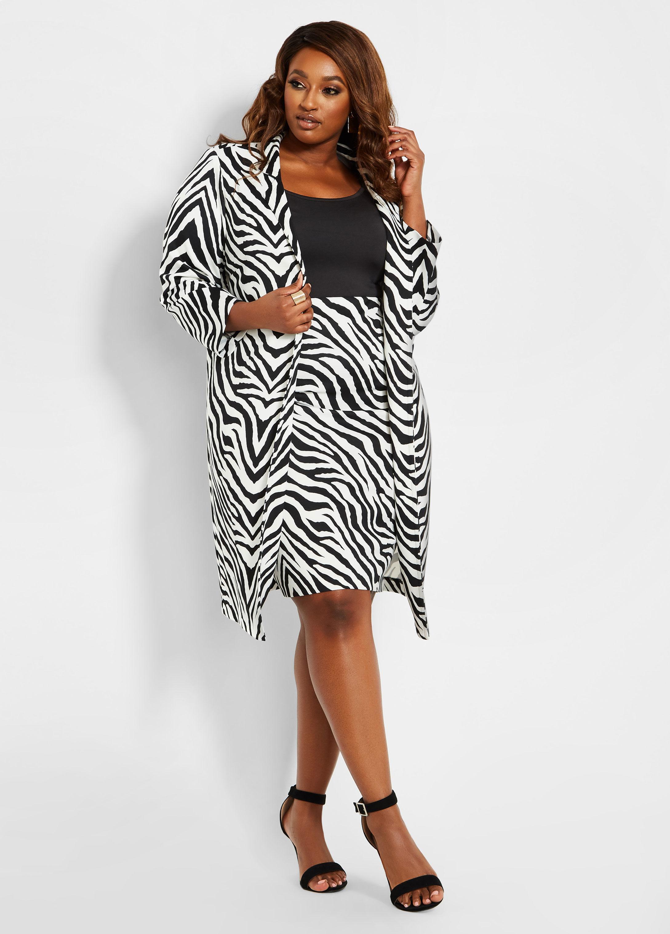 88b7706b66594 Lyst - Ashley Stewart Plus Size Zebra Print Long Line Topper in Black