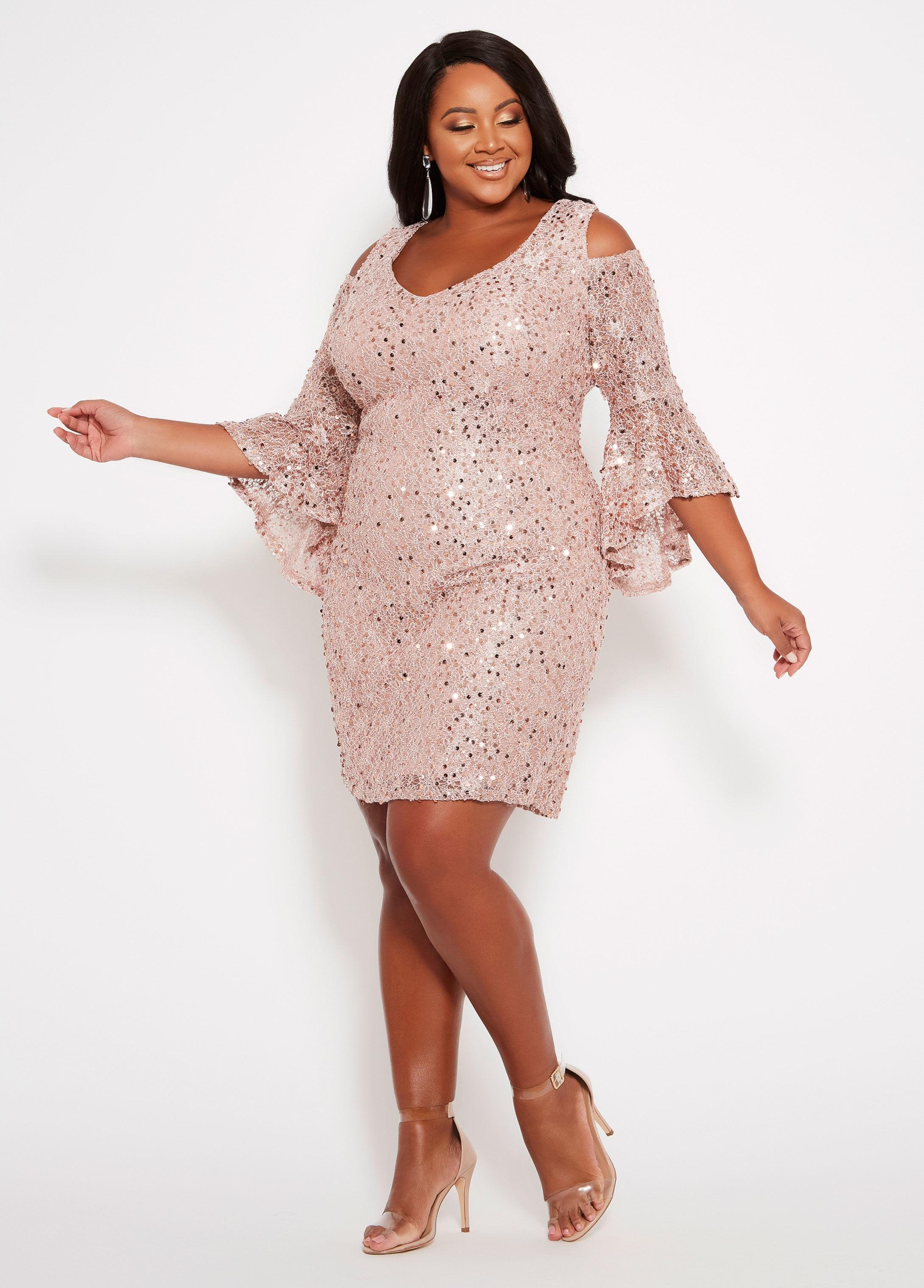 Ashley Stewart Lace Plus Size Cold Shoulder Sequin Dress in ...
