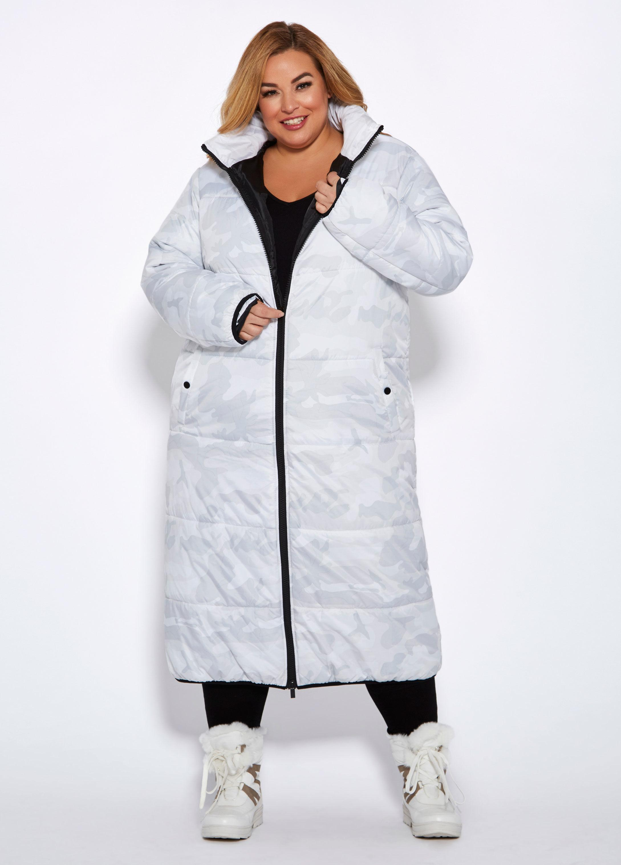 7786bb5b63e Lyst - Ashley Stewart Plus Size Camo Cocoon Maxi Coat in White