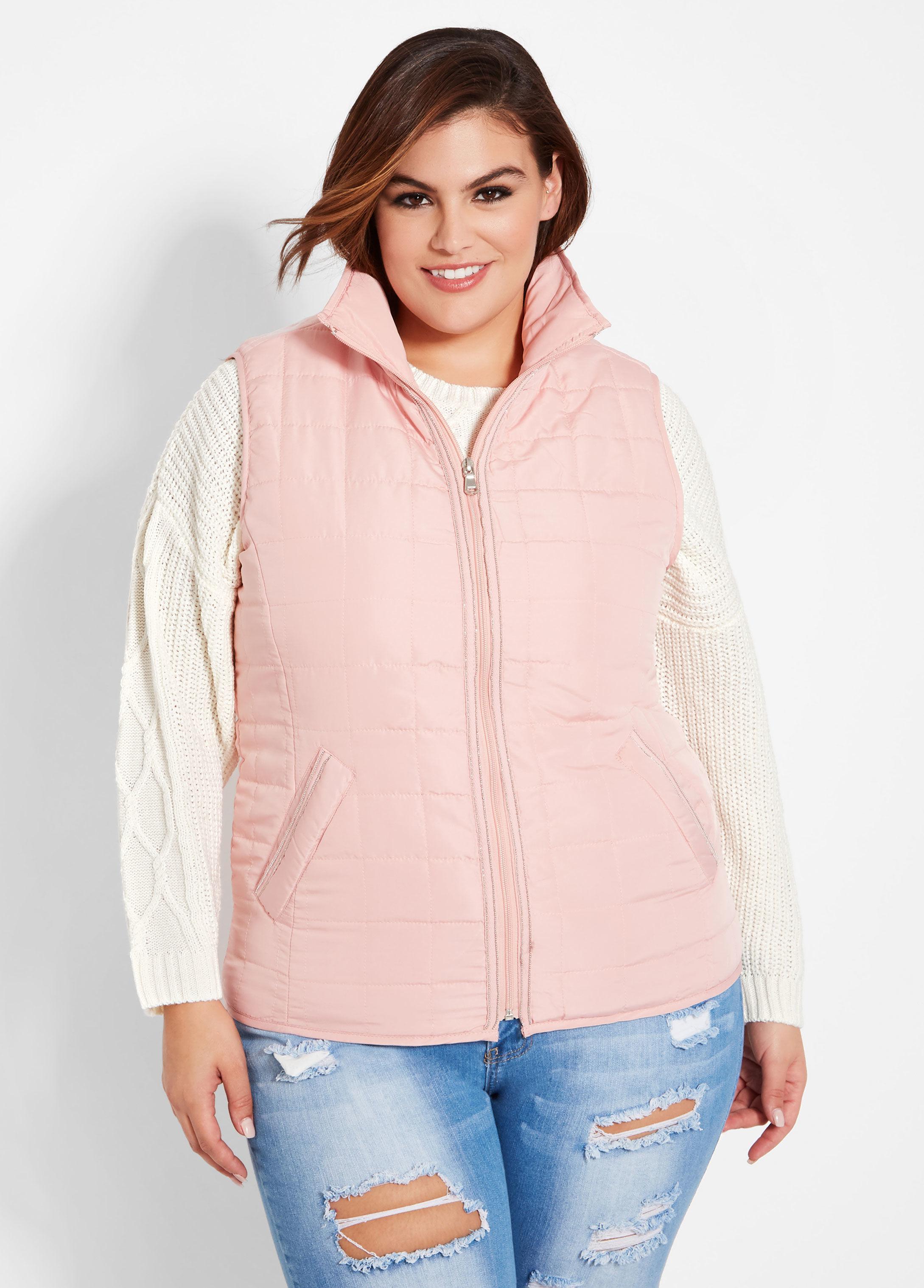 076b95f6199 Lyst - Ashley Stewart Plus Size Metallic Trim Puffer Vest in Pink