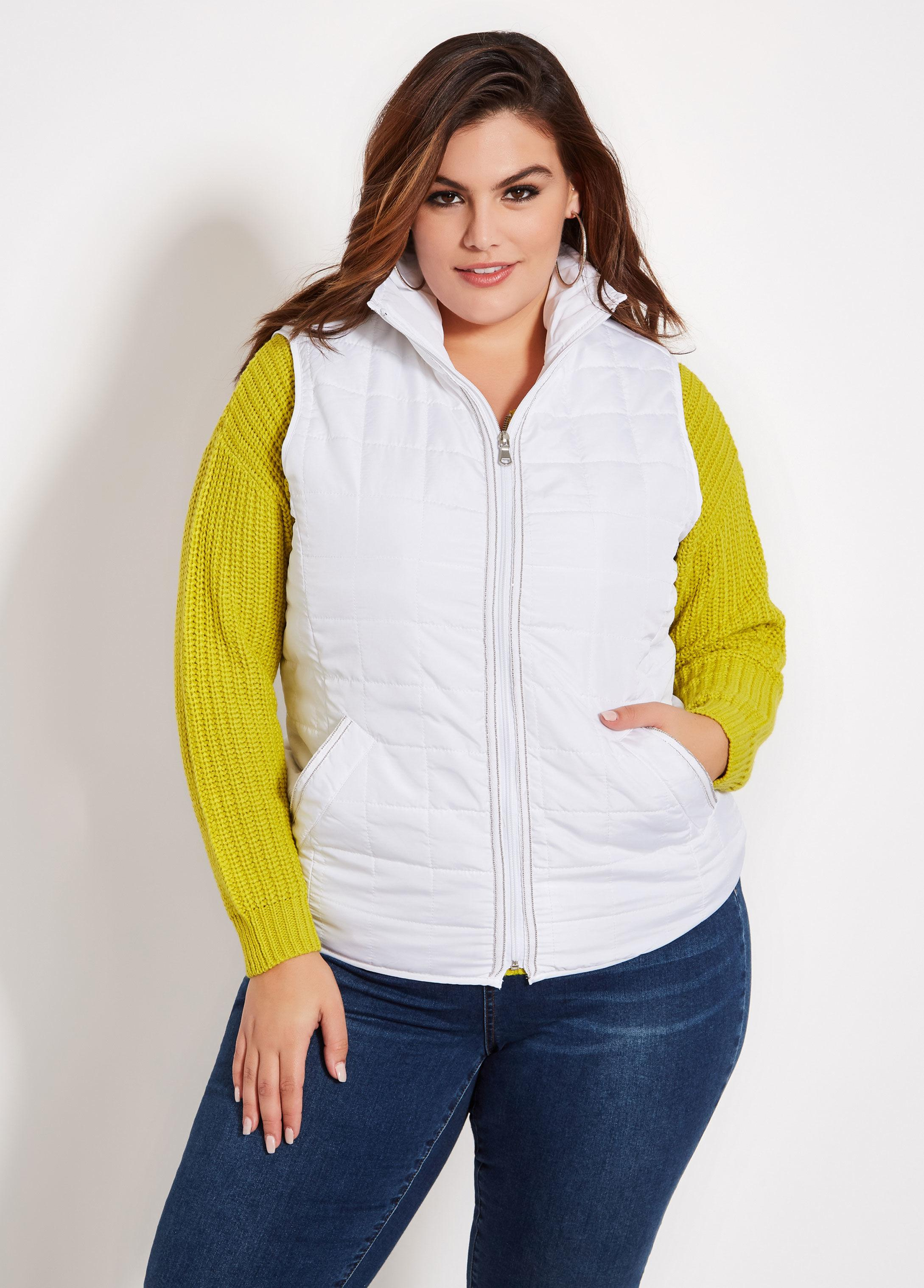 c77e33d13ce Lyst - Ashley Stewart Plus Size Metallic Trim Puffer Vest in White