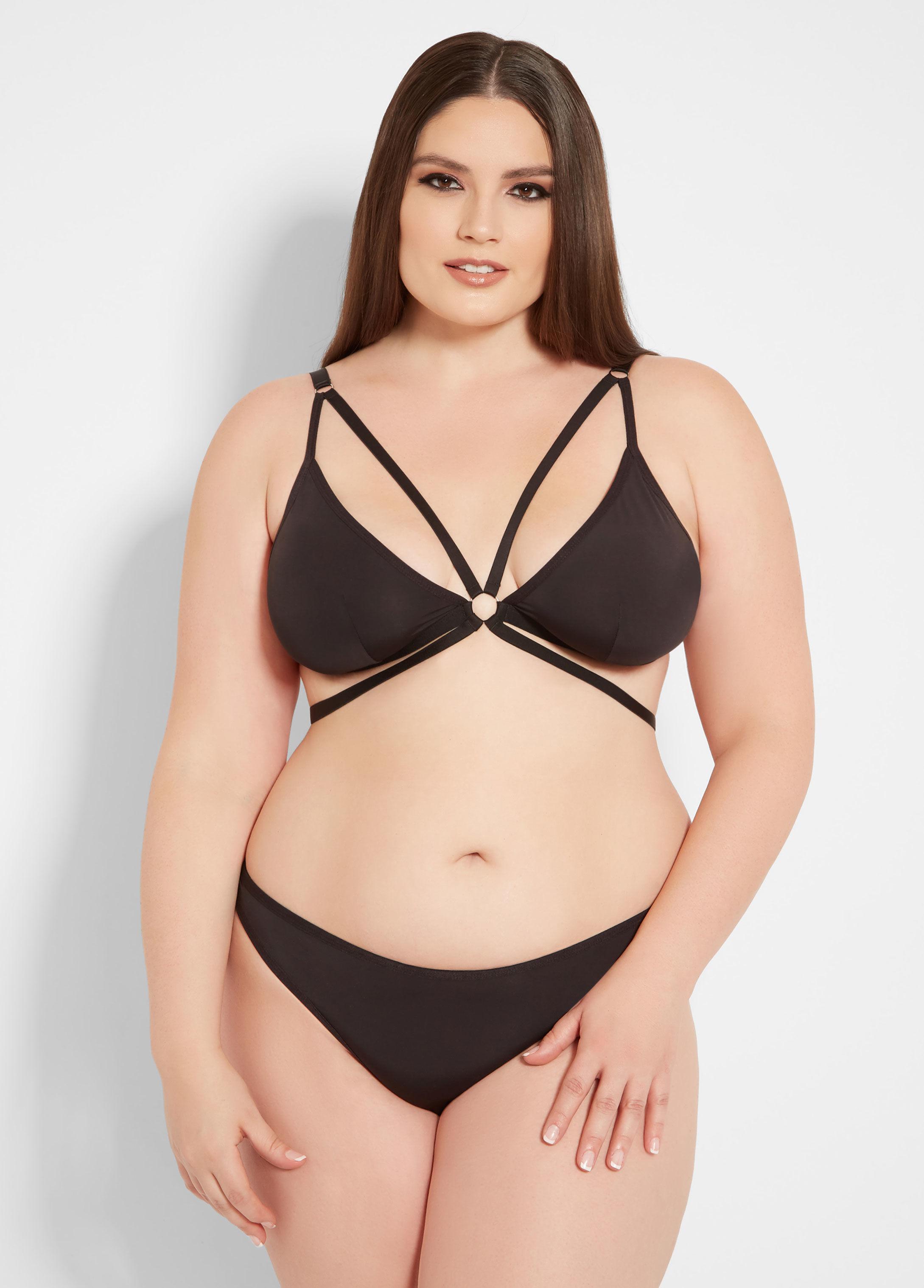 0db2af8017c5e Lyst - Ashley Stewart Plus Size Two Piece Strappy Bra Set in Black