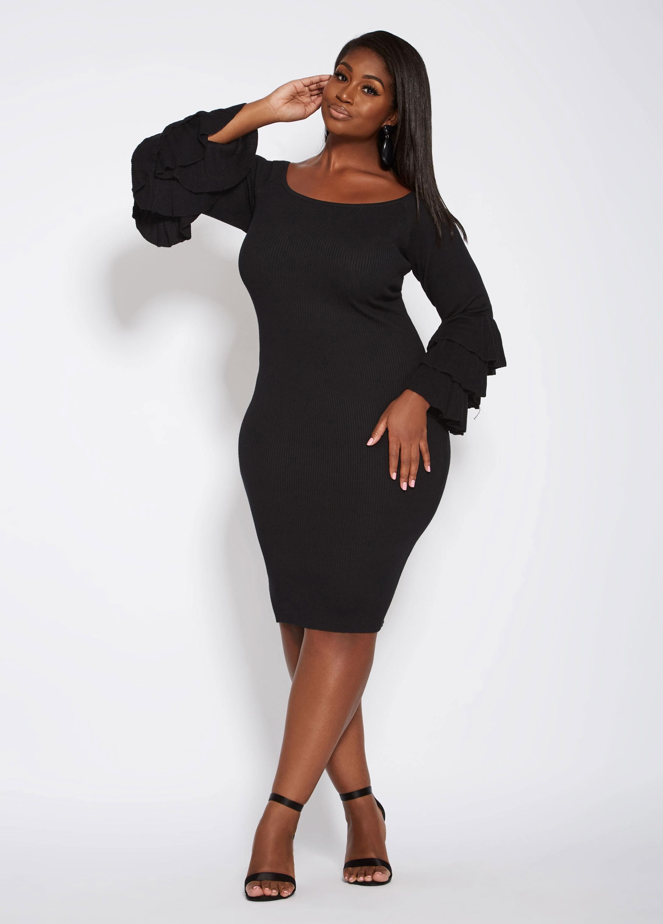 887d1387094 Ashley Stewart Plus Size Bell Sleeve Off The Shoulder Sweater Dress ...