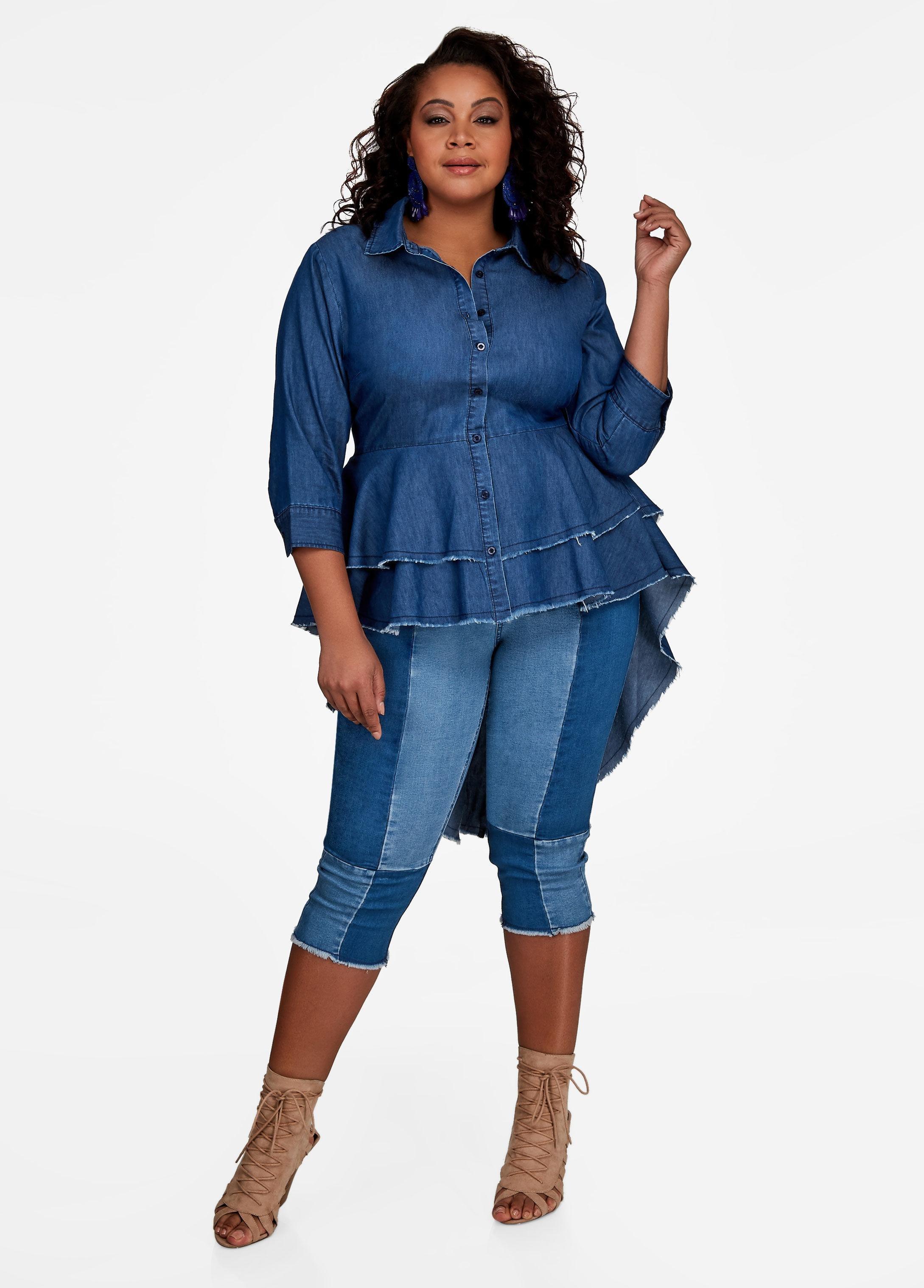 42f1dbe4926 Lyst - Ashley Stewart Double Peplum Denim Button Shirt in Blue