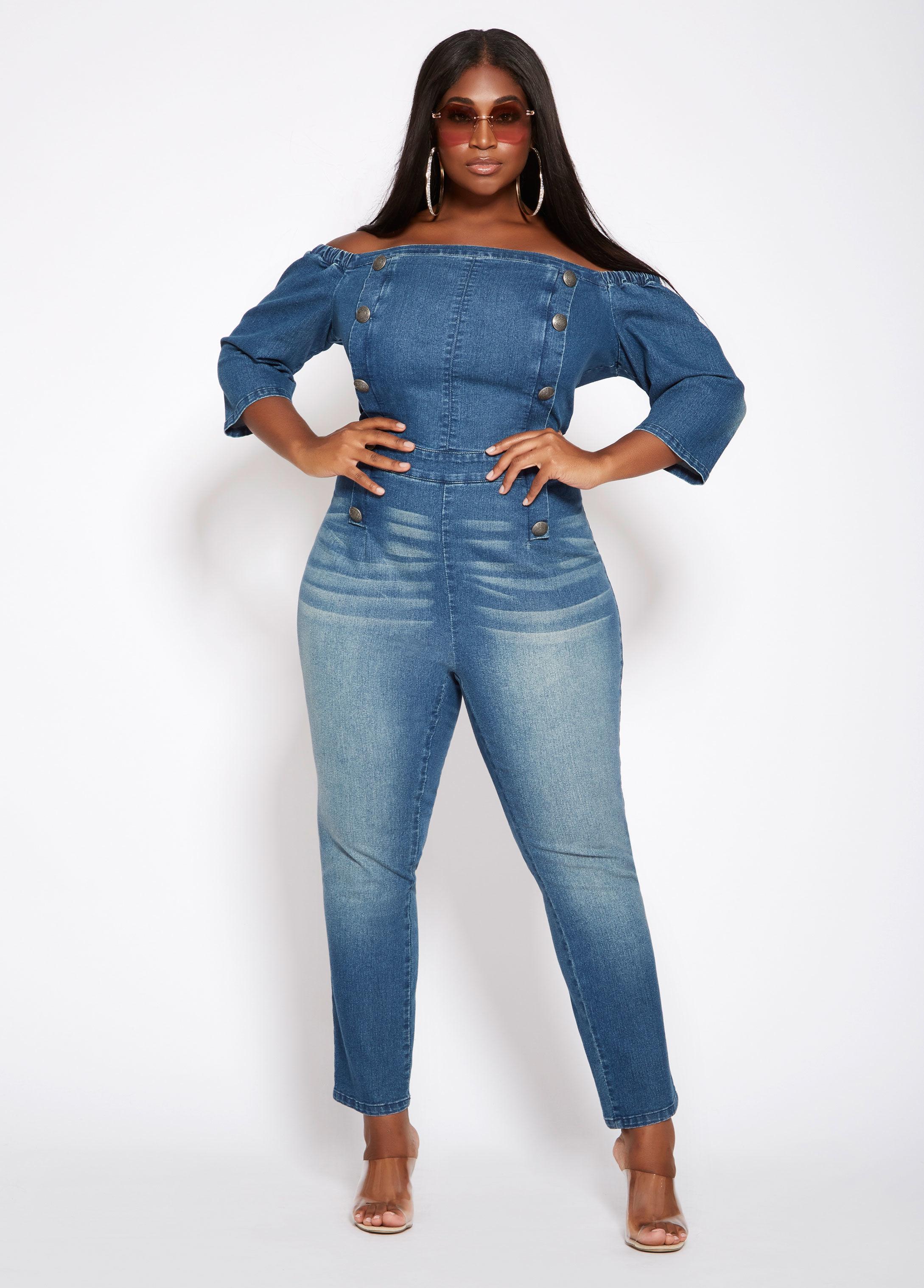 49357fd80bc7 Lyst - Ashley Stewart Plus Size Off The Shoulder Denim Jumpsuit in Blue