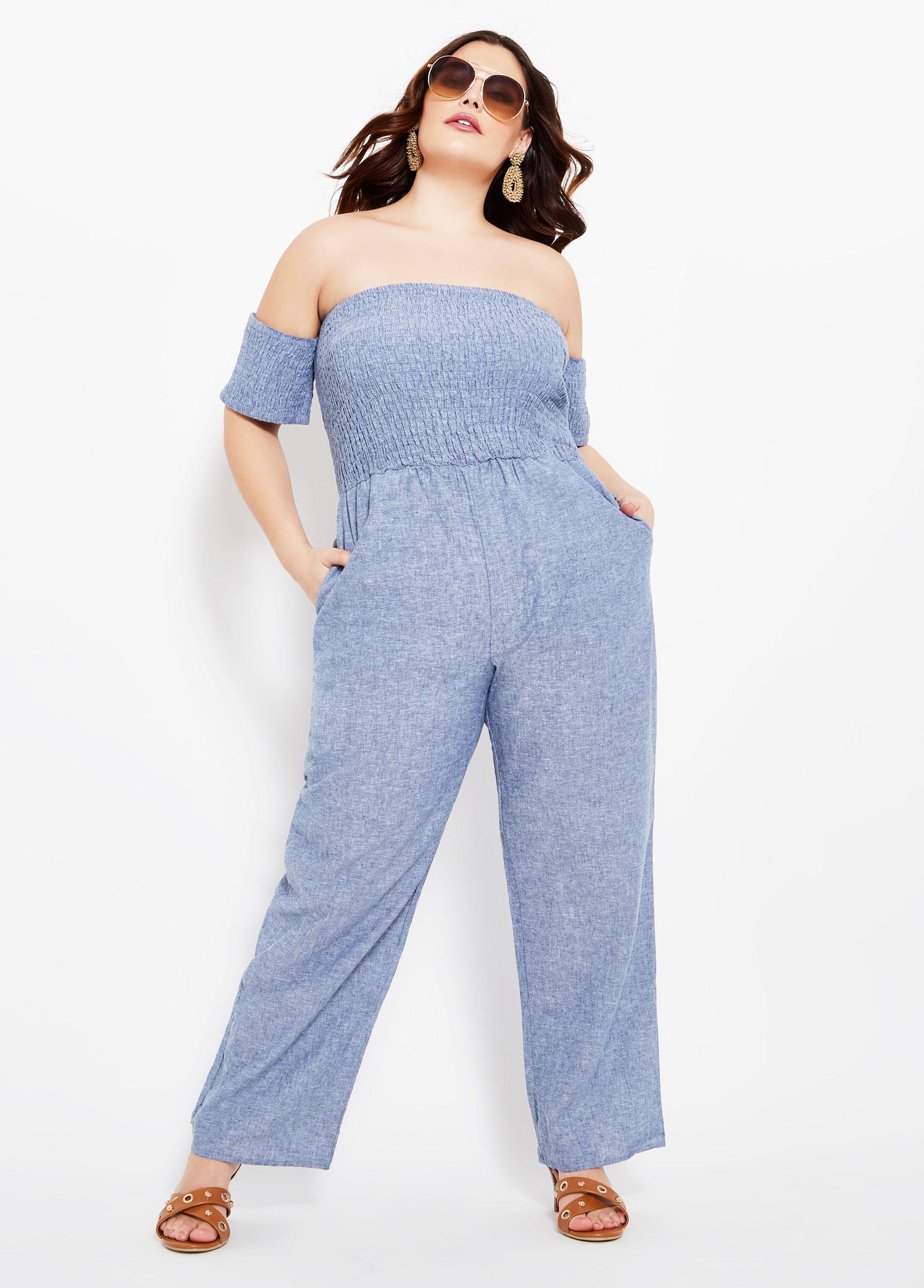 f8891fde979b Lyst - Ashley Stewart Plus Size Smock Top Wide Leg Jumpsuit in Blue