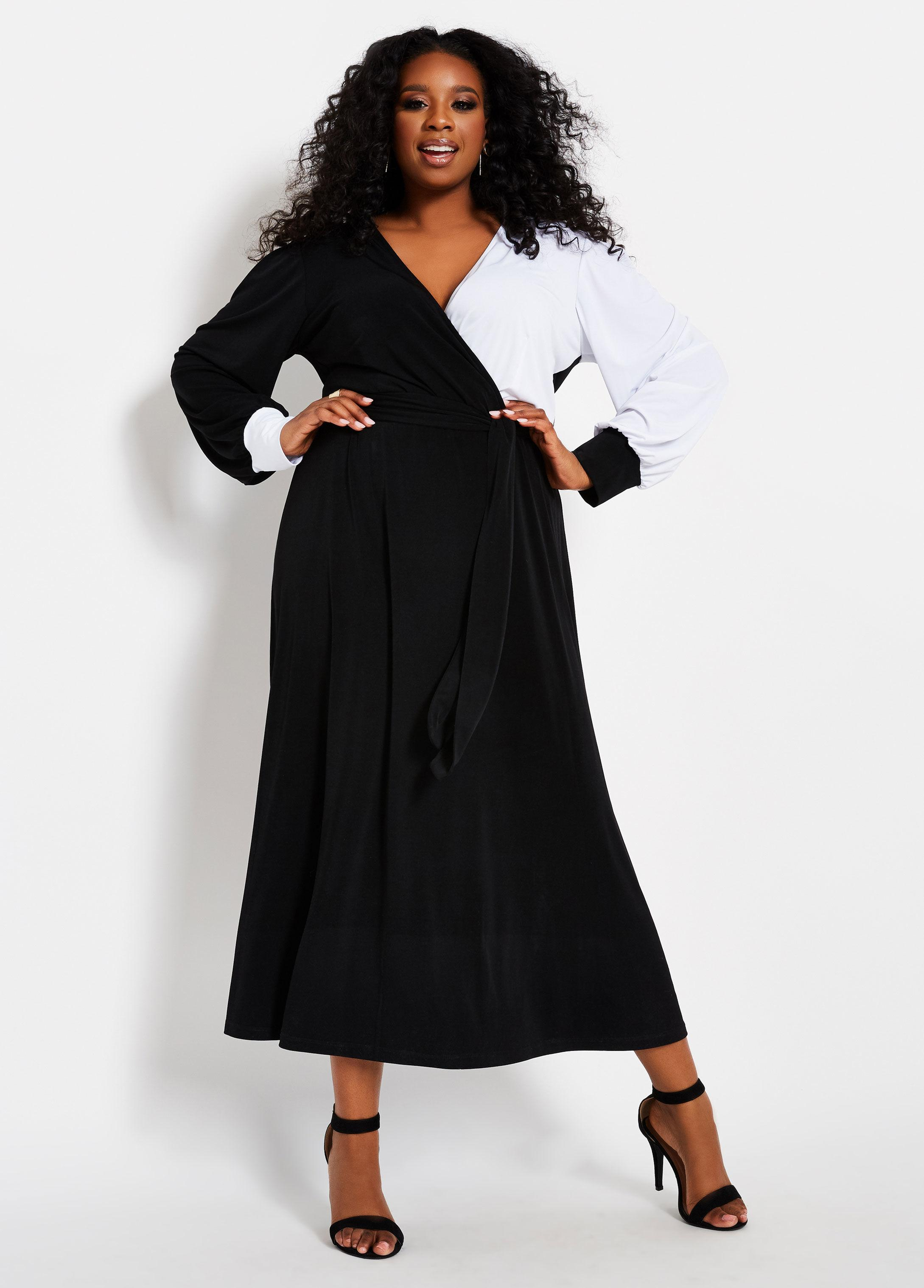 f8d5cc10 Lyst - Ashley Stewart Plus Size Color Block Belted Maxi Dress in Black
