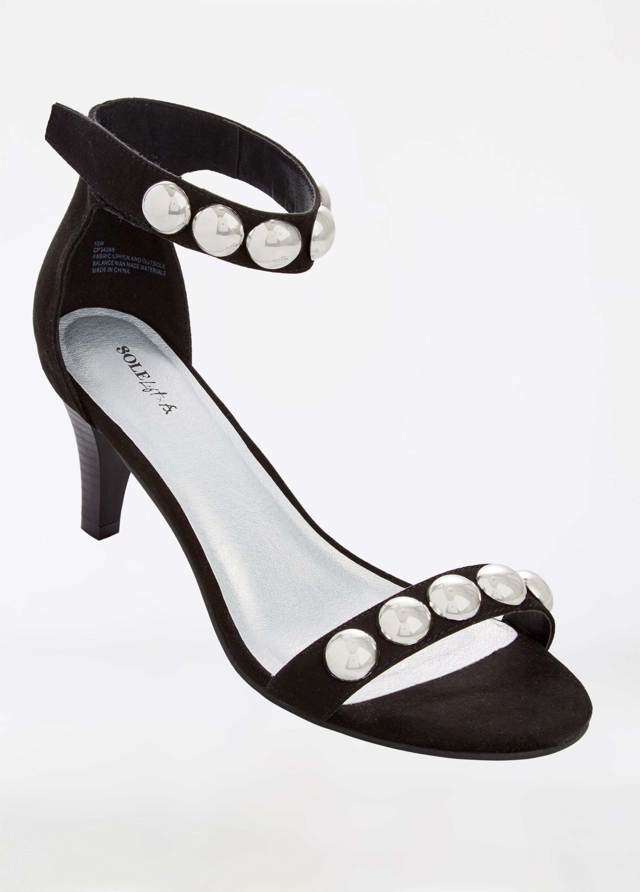 e01745dfa19 Ashley Stewart Black Sole Lift Studded Wide Width Heel