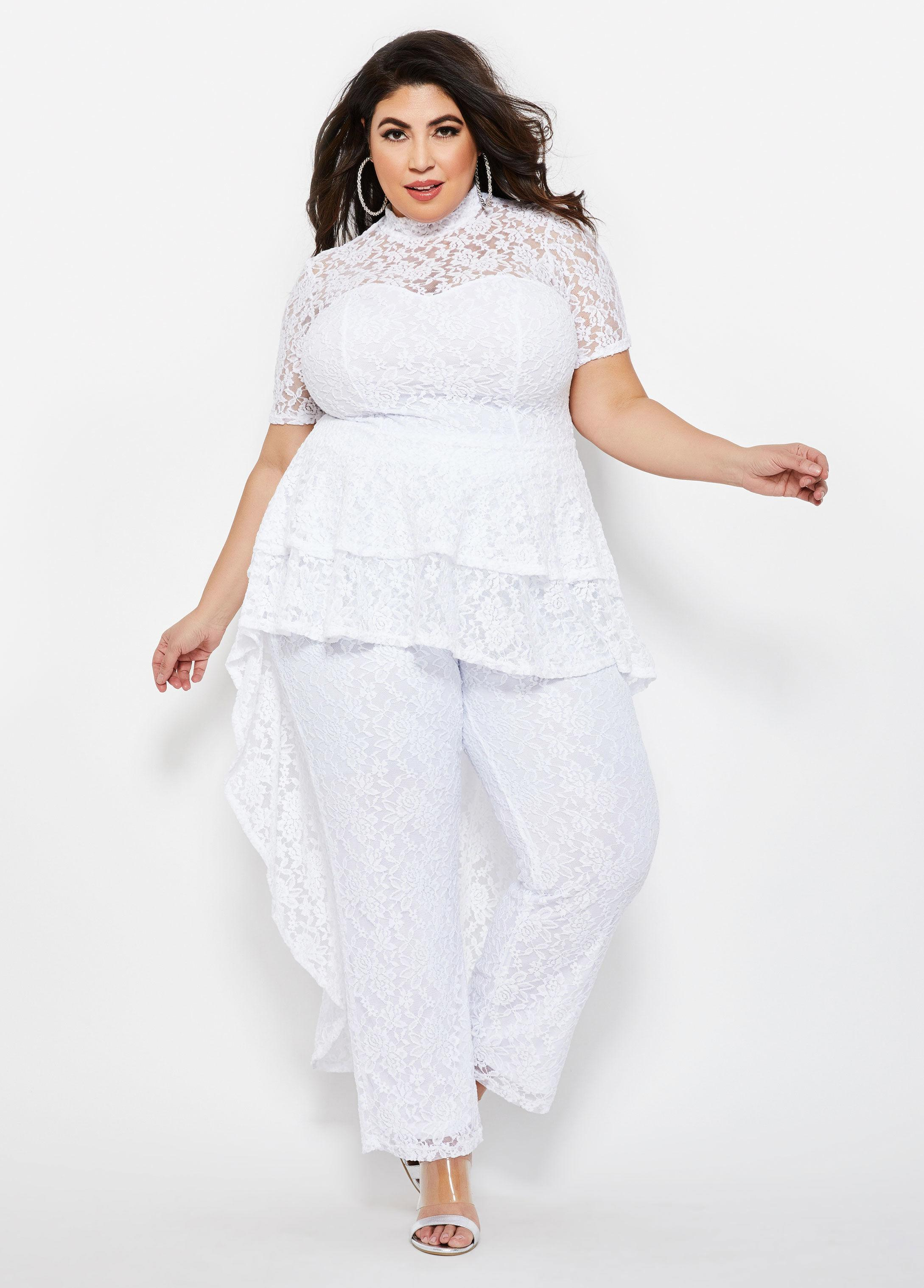 47467c48c23 Lyst - Ashley Stewart Plus Size Lace Mock Neck Train Duster in White