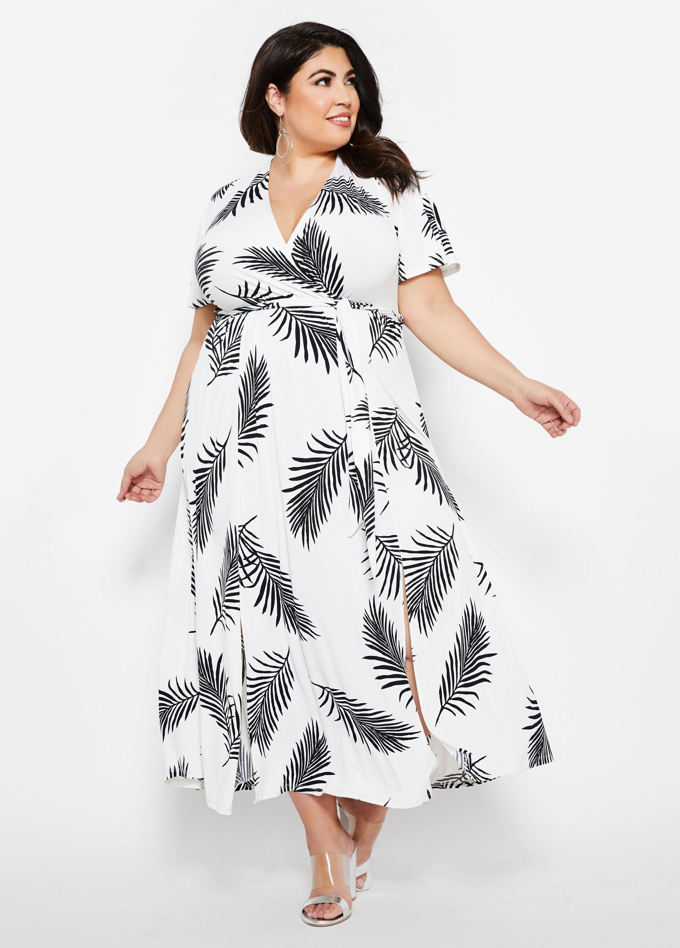 Lyst - Ashley Stewart Plus Size Feather Print Front Slit Maxi Dress ...