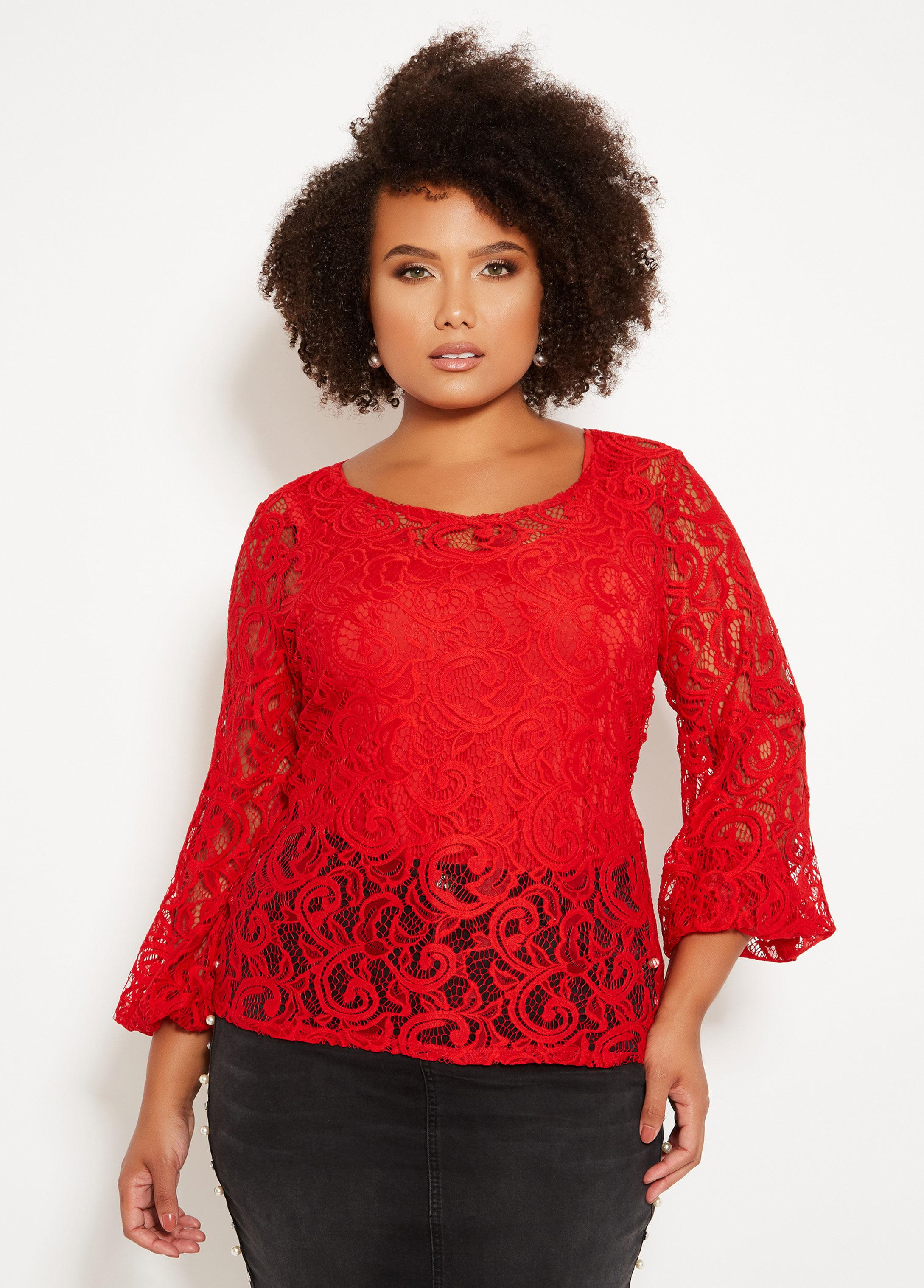 b78fcdd4068 Lyst - Ashley Stewart Plus Size Sheer Lace Bubble Sleeve Top in Red