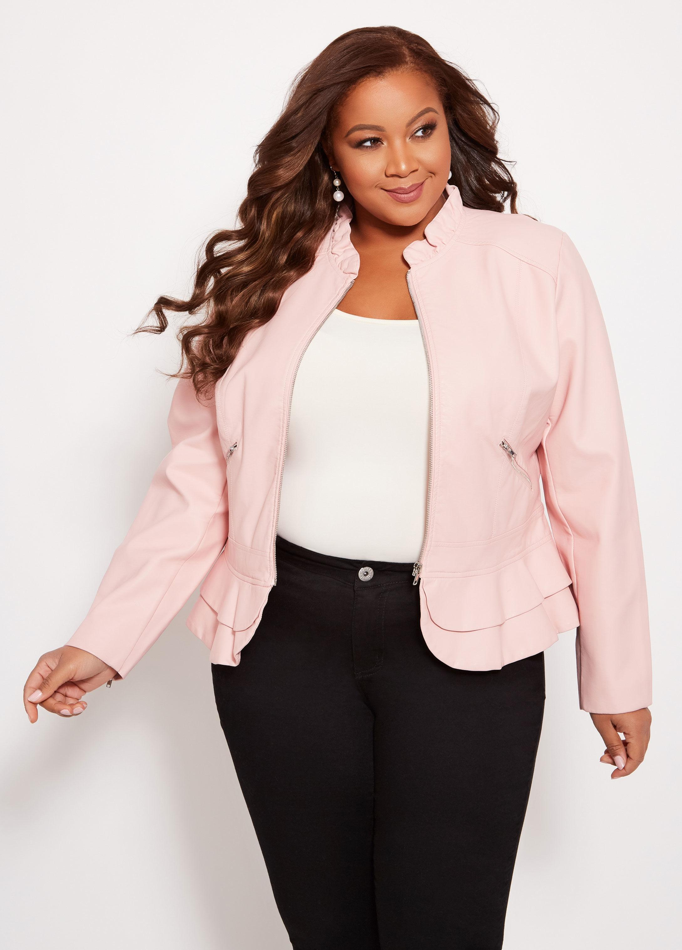 878f2b8a68339 Lyst - Ashley Stewart Plus Size Double Ruffle Faux Leather Jacket in ...