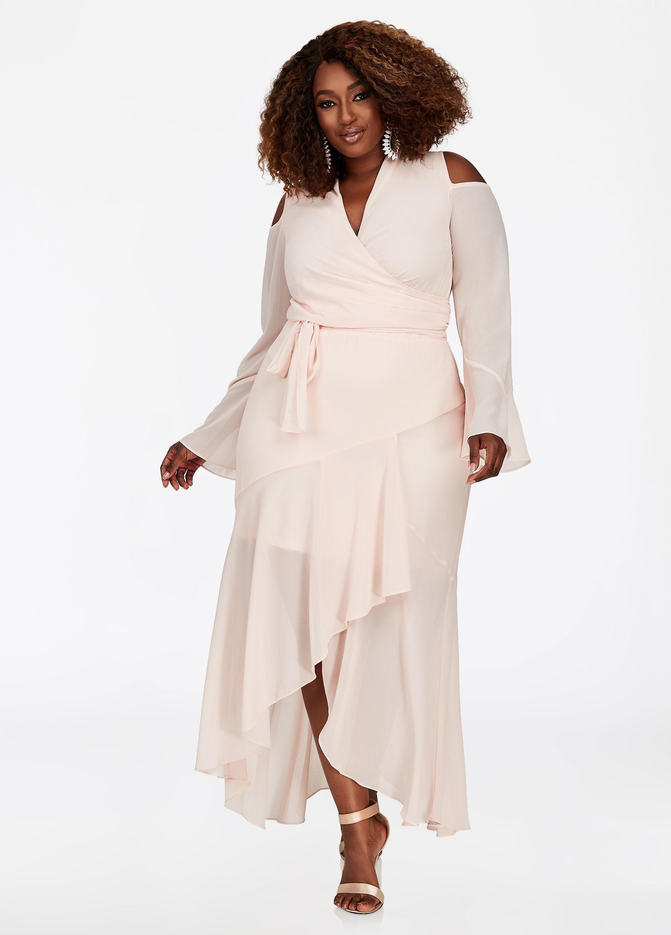 3095275e82d Ashley Stewart Plus Size Bebe Chiffon Belted Maxi Dress in Pink - Lyst
