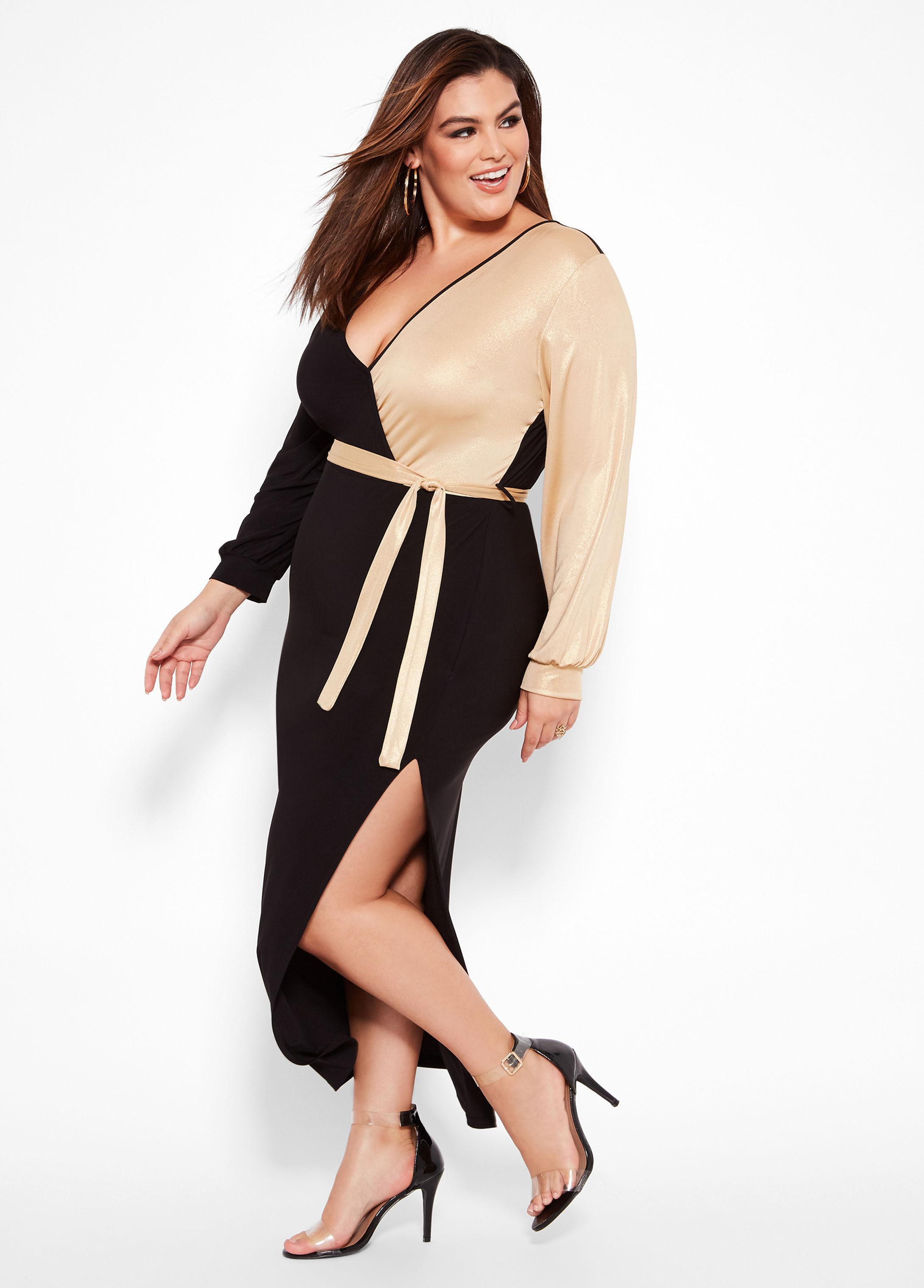 e07329d4d17e2 Lyst - Ashley Stewart Plus Size Color Block Faux Wrap Dress in Black