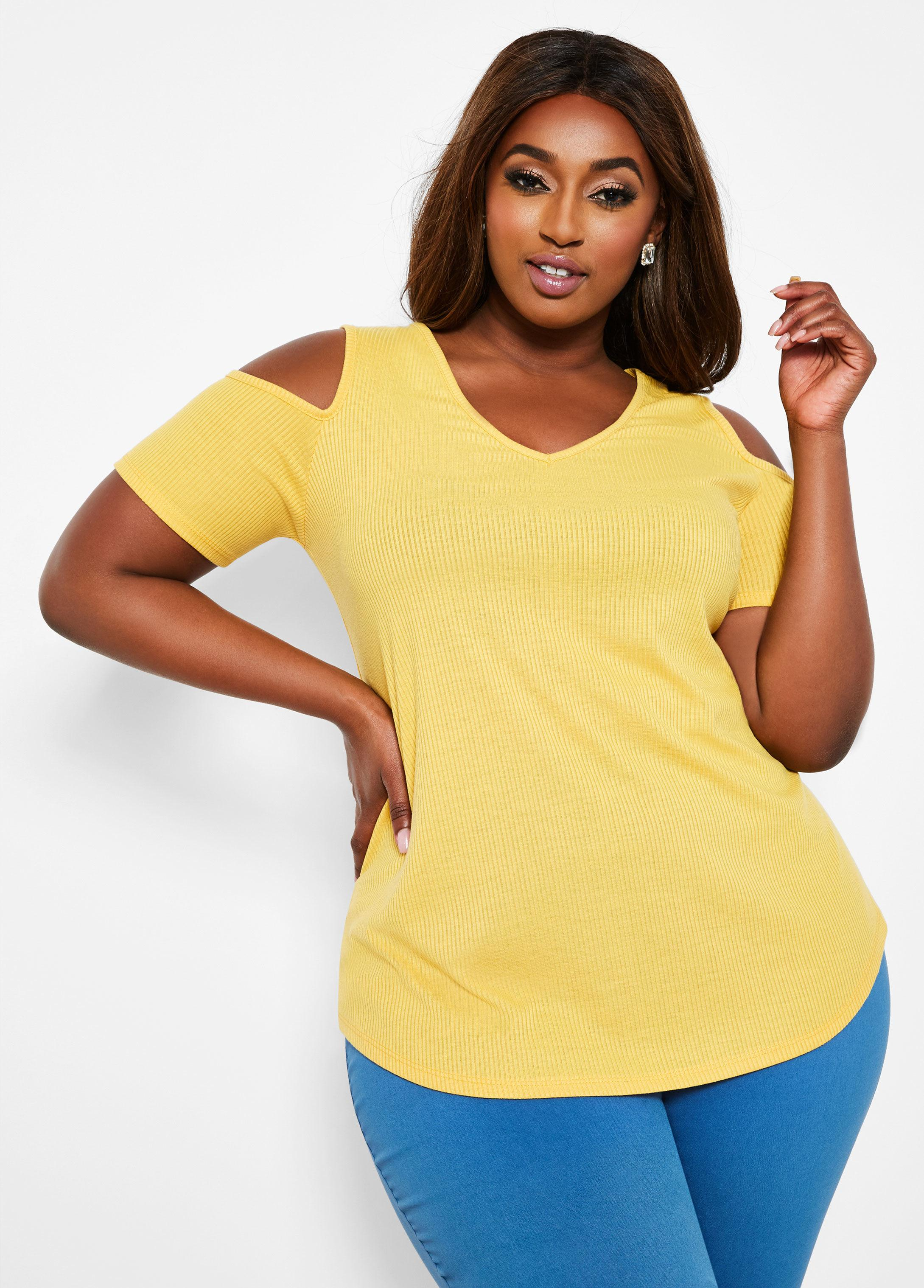 d59b55a5ca Ashley Stewart. Women's Yellow Plus Size Ribbed V Neck Cold Shoulder Top