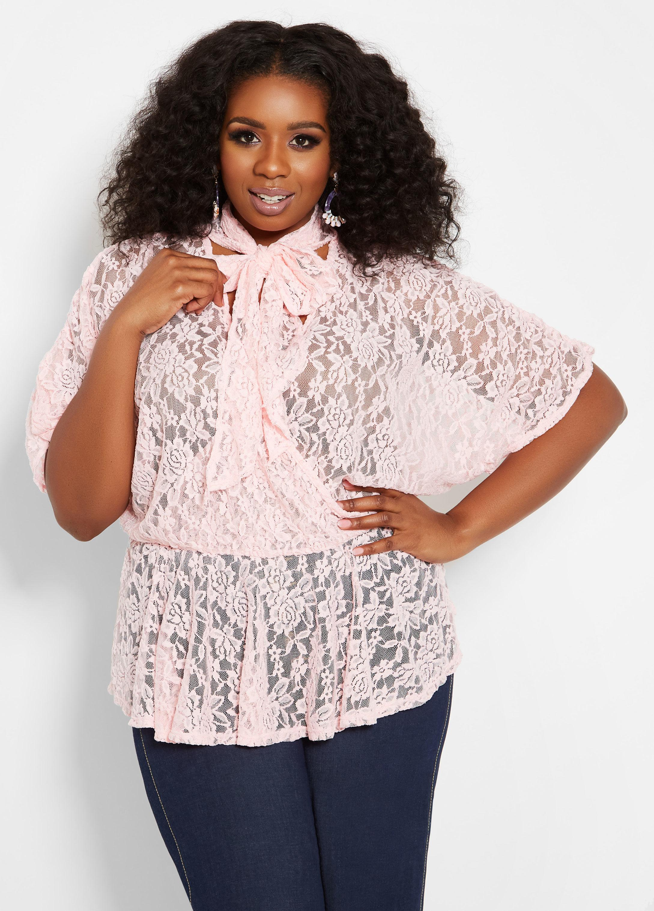 09fb2286f06 Lyst - Ashley Stewart Plus Size Sheer Lace Tie Neck Wrap Top in Pink