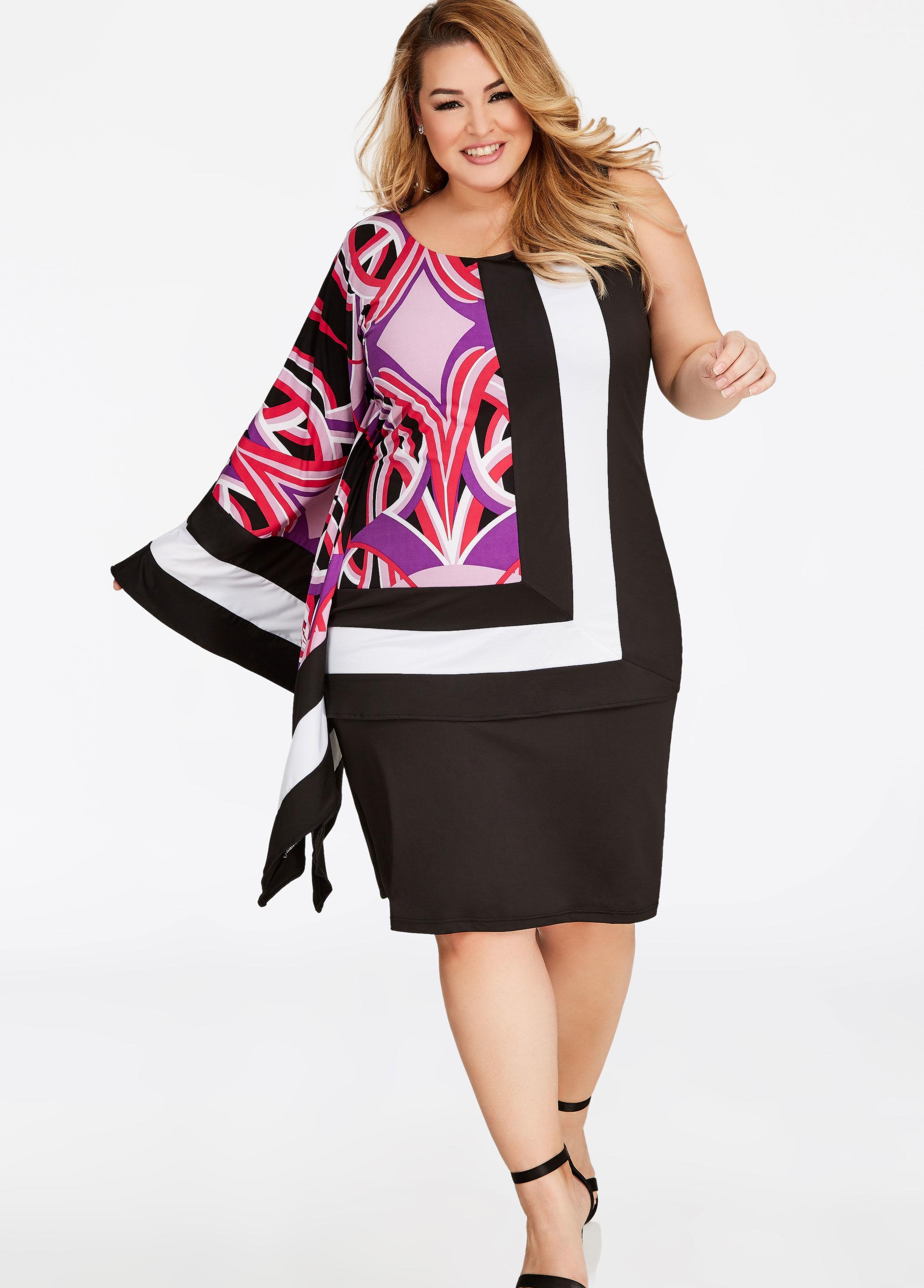 cc13087816d Ashley Stewart One Sleeve Scarf Print Dress in Black - Lyst