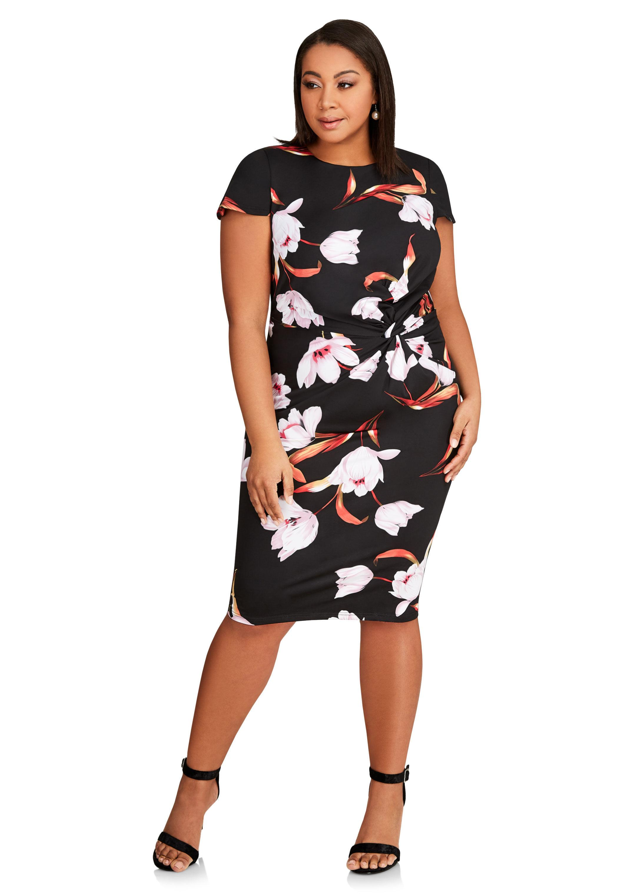 Simply Be Womens Print Spot Mesh Yoke Dress