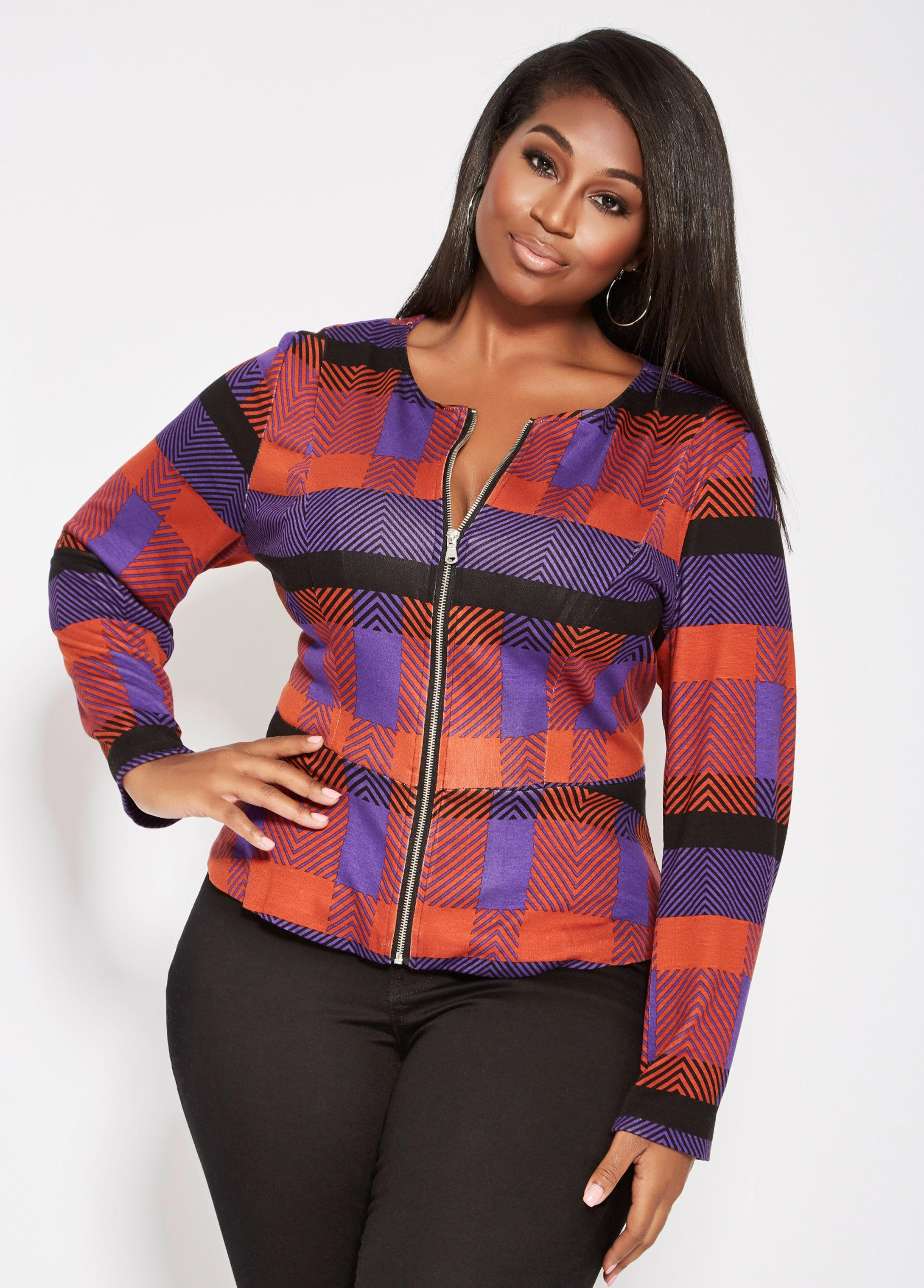 94615119ad610 Lyst - Ashley Stewart Plus Size Printed Zip Front Peplum Jacket in Red