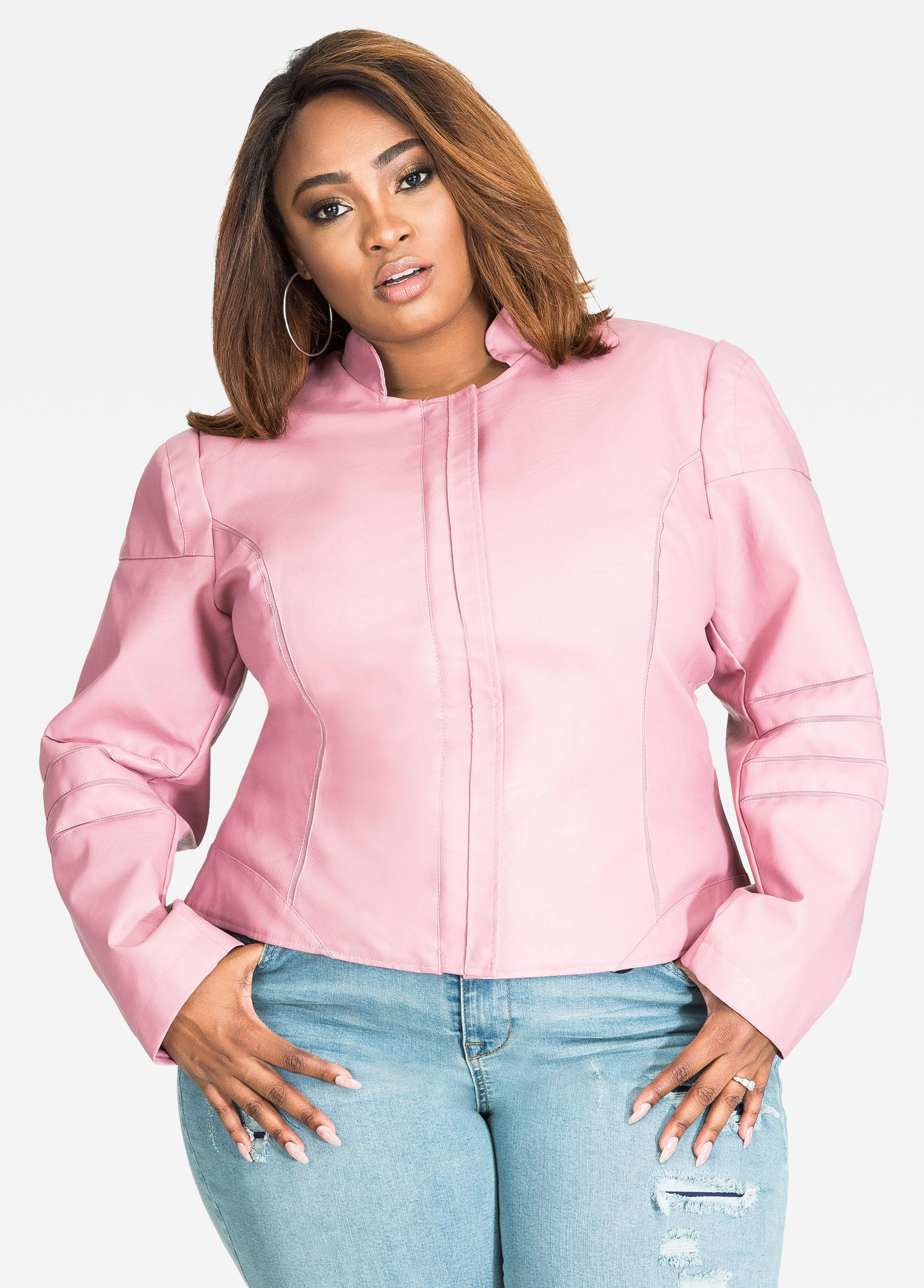 ed57a5fff37be Gallery. Previously sold at  Ashley Stewart · Women s Blush Leather Jackets  ...