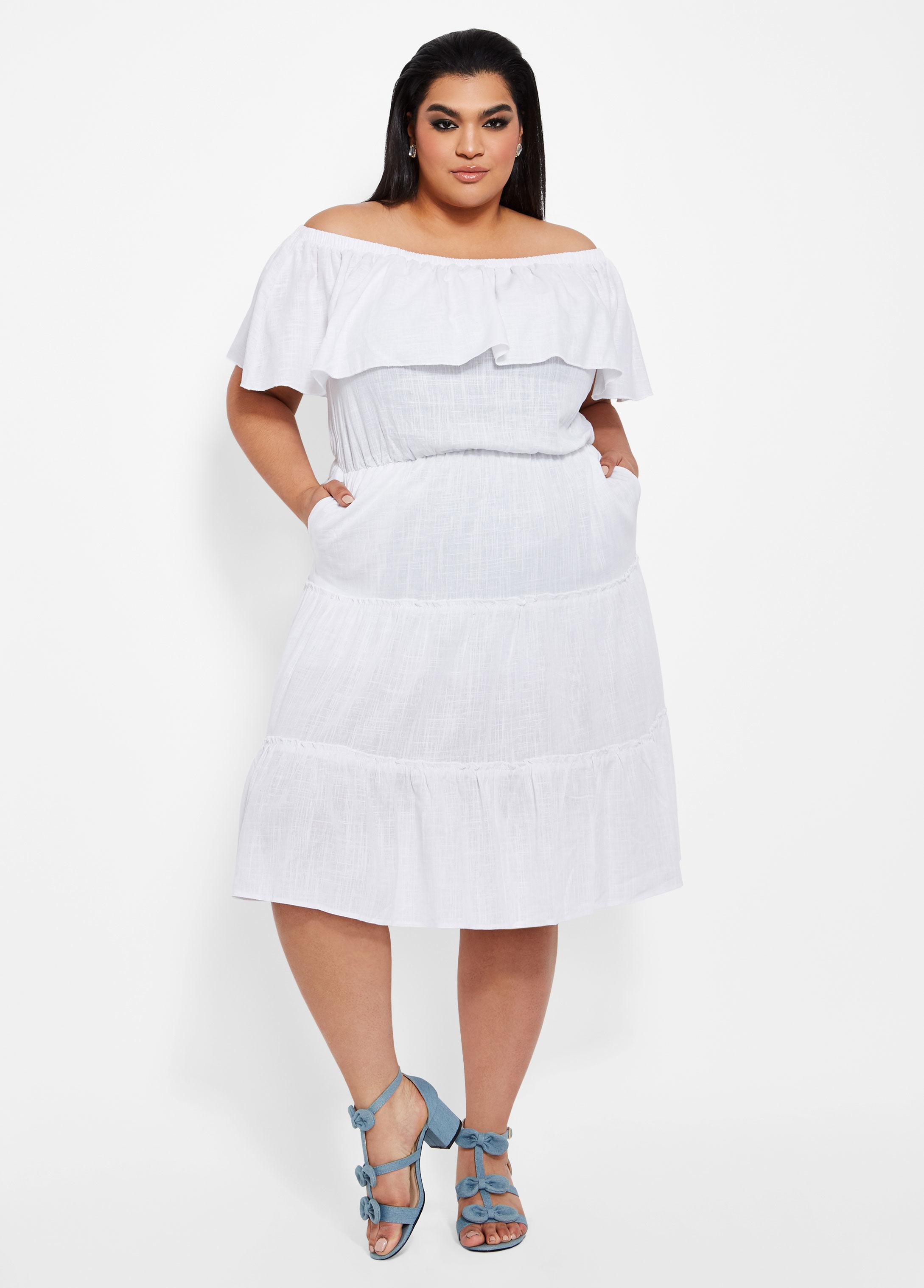 98cb268aa40 Lyst - Ashley Stewart Plus Size Solid Tiered Ruffle Linen Dress in White