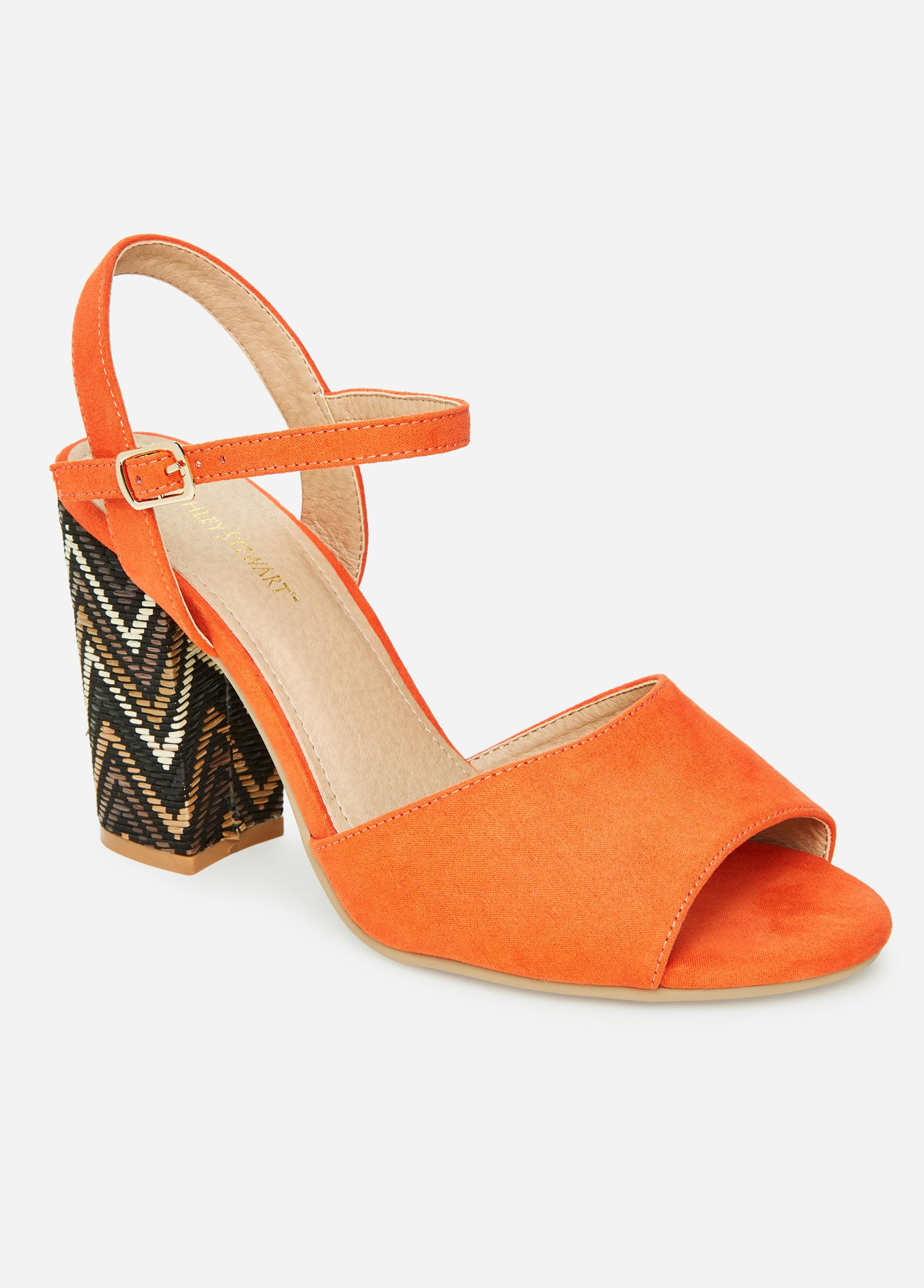 6ede235b58c Ashley Stewart Zigzag Chunky Heel Medium Width Sandals in Orange - Lyst