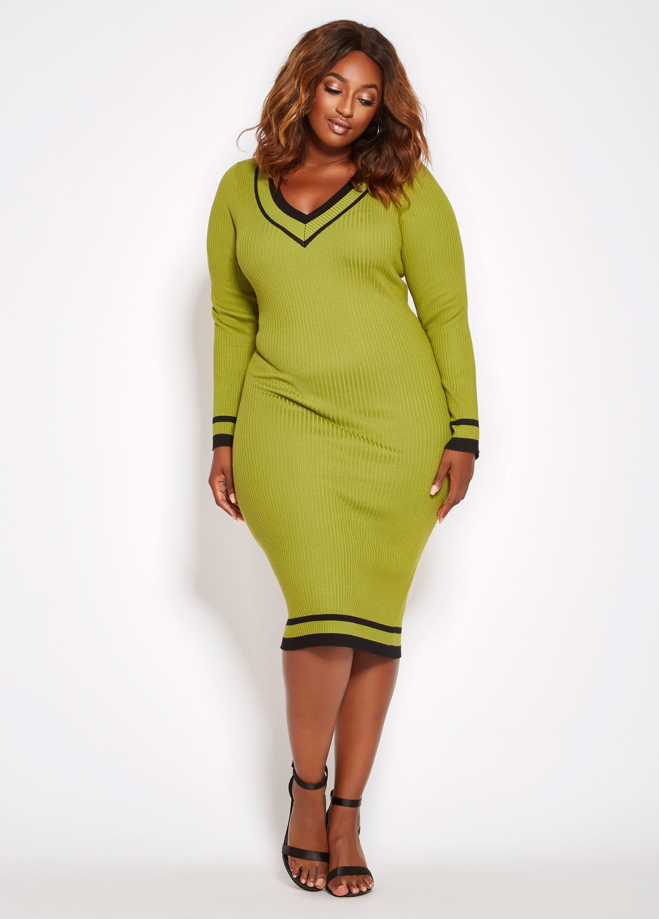 Lyst Ashley Stewart Plus Size V Neck Varsity Sweater Dress In Green