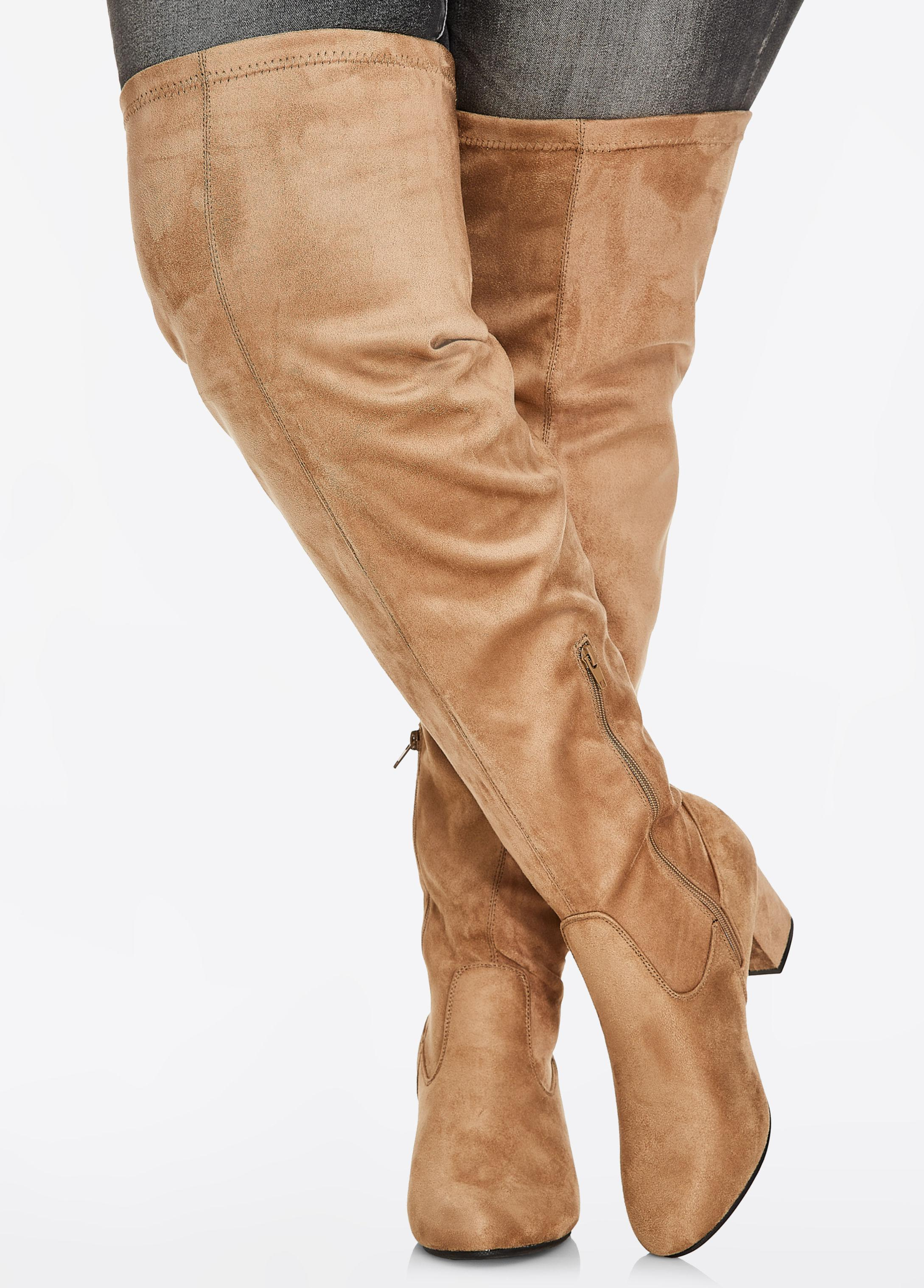 867e4c806d3 Lyst - Ashley Stewart Over-the-knee Faux Suede Boots - Wide Width ...