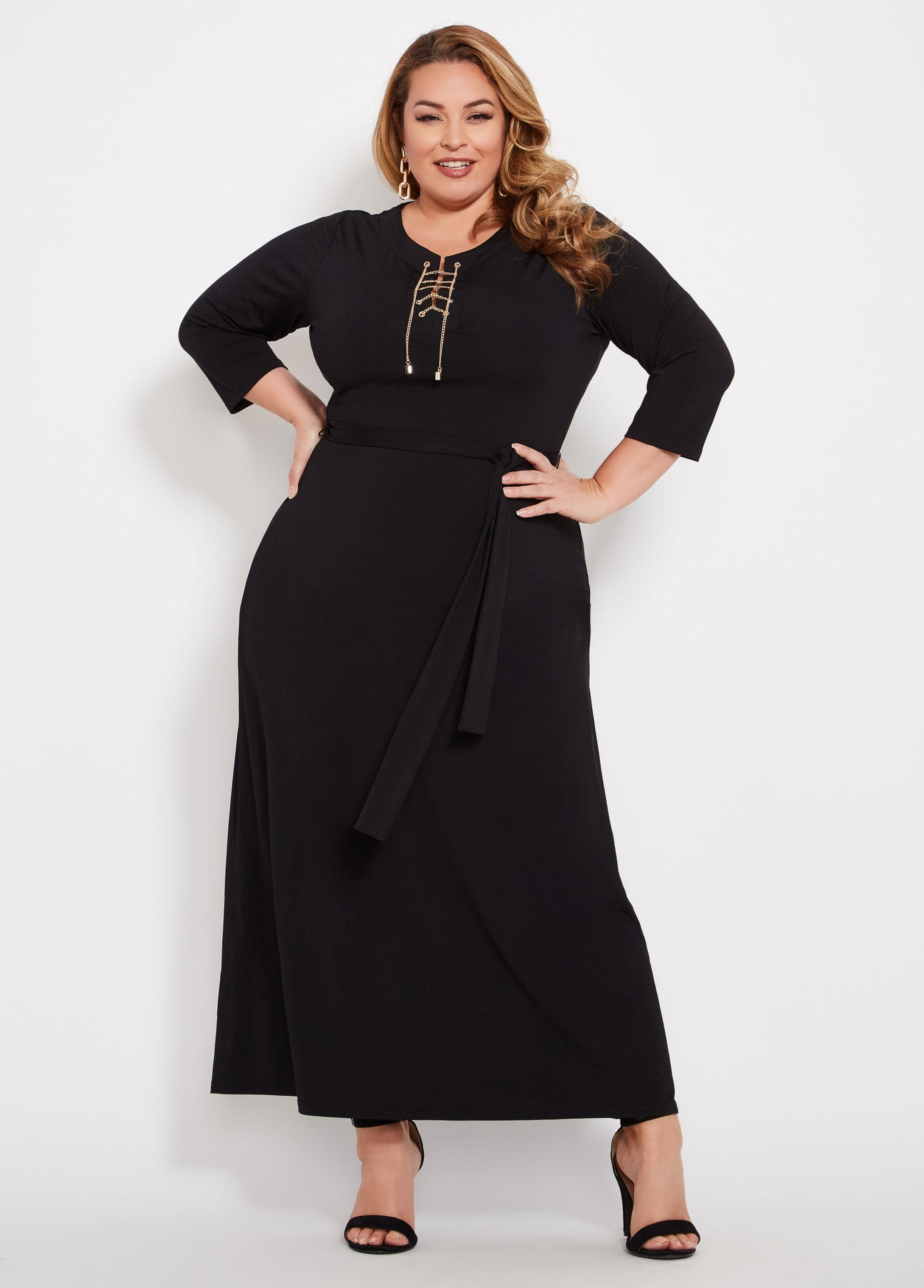 Lyst - Ashley Stewart Plus Size Chain Lace Up Maxi Dress in Black