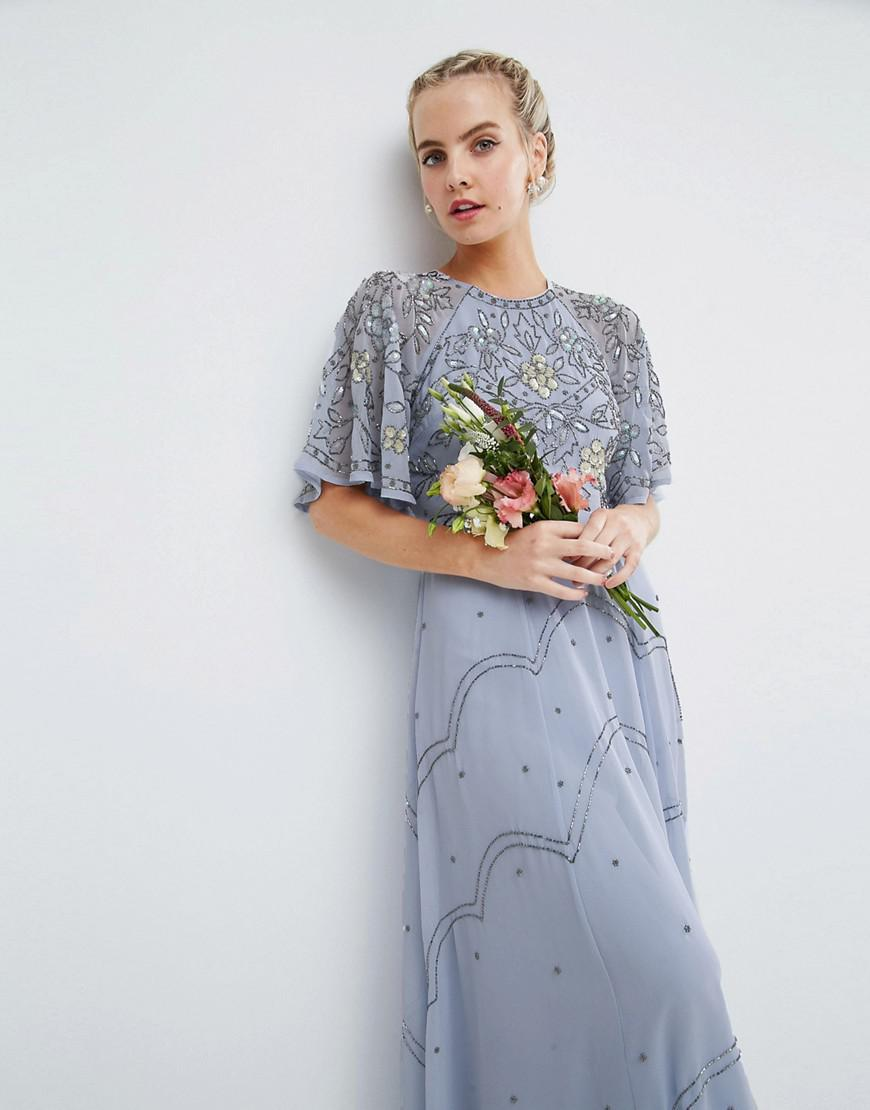 880c462a831eb ASOS Wedding Embellished Floral Flutter Sleeve Maxi Dress in Blue - Lyst