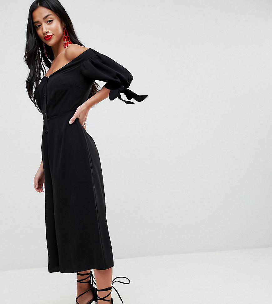 dfe1e27b60f Lyst - ASOS Tea Jumpsuit With Off Shoulder Detail And Tie Sleeve in ...