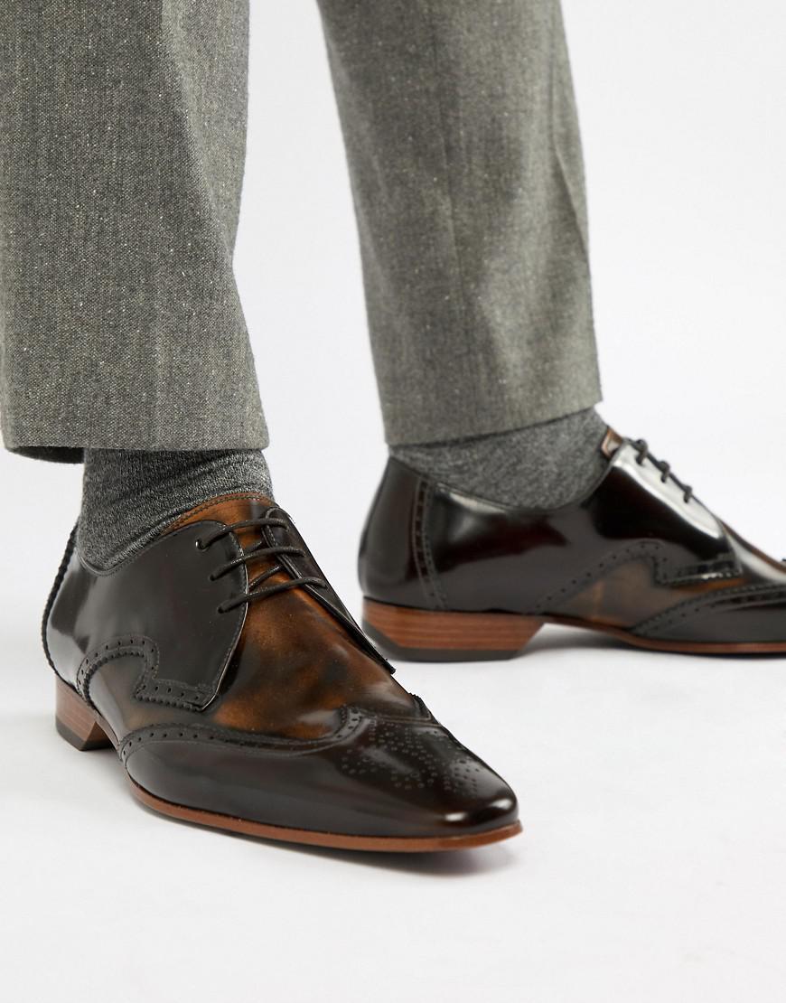Jeffery Chaussures Ouest Contraste Escobar Richelieu - Marron F0CzLG7I