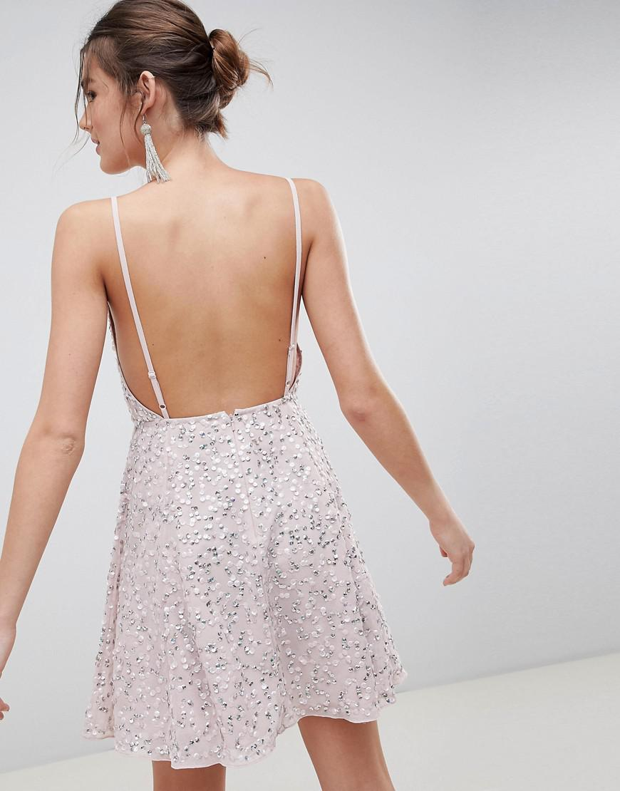 1fad415b ASOS Delicate Sequin Plunge Mini Dress With Full Skirt in Pink - Lyst