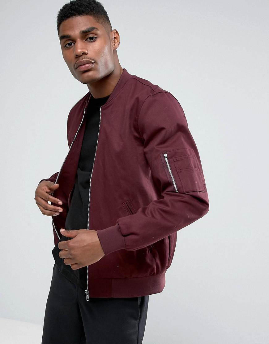 ASOS. Men's Red Bomber Jacket With Sleeve Zip In Burgundy