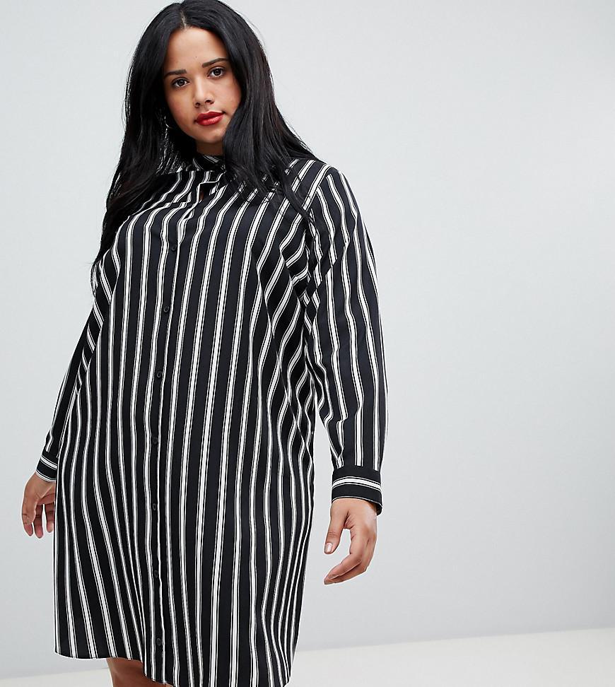 Lyst - ASOS Asos Design Curve Mini Shirt Dress In Stripe With Long ...