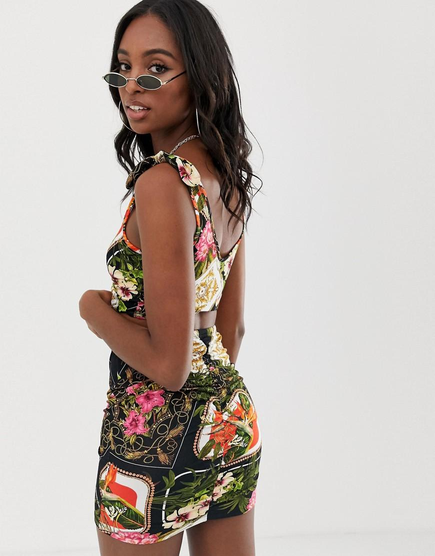 58dbd3c03d0 ASOS Asos Design Tall Jersey Beach Crop Top With Ruched Front In Dark Tropical  Print Co-ord - Lyst