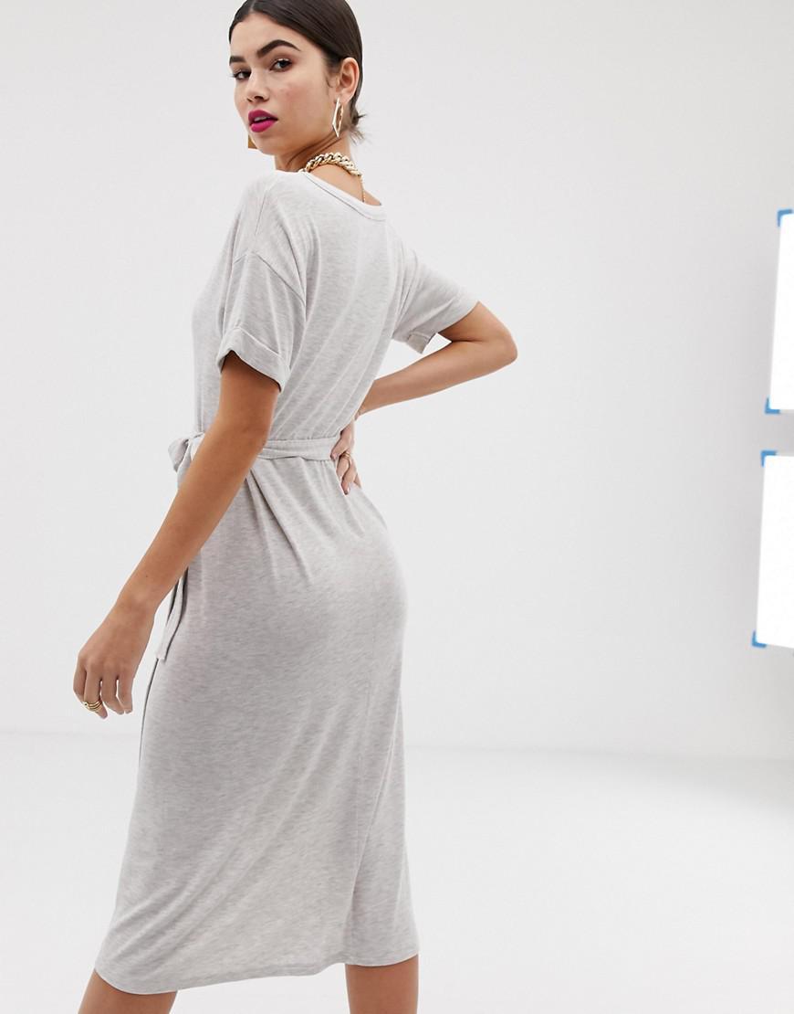 218d3632eb Lyst - ASOS Midi Wrap Skirt T-shirt Dress With Belt