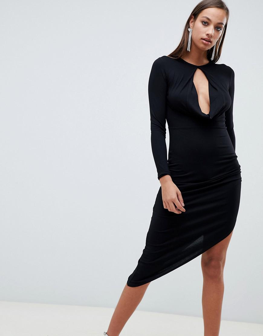 cec4f13184d0f ASOS Long Sleeve Keyhole Drape Bodycon Midi Dress in Black - Lyst