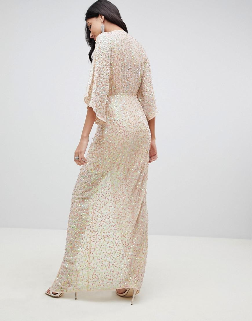 22e2d990 ASOS Asos Design Tall Scatter Sequin Knot Front Kimono Maxi Dress in Pink -  Lyst