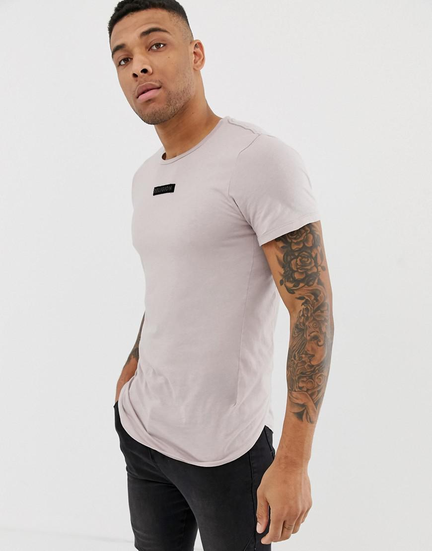 da7a548a3936 Lyst - Religion T-shirt In Ash Pink With Logo Patch And Curved Hem ...