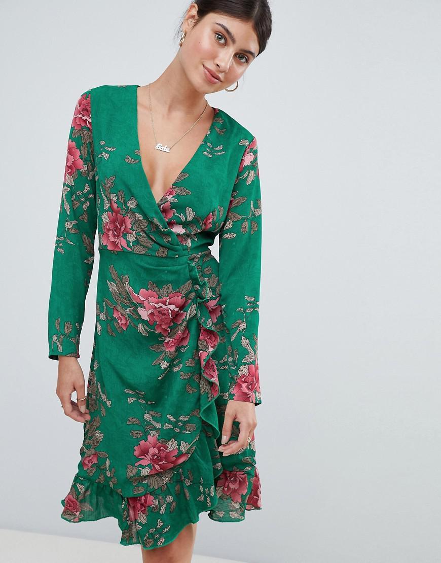 Floral Tea Dress - Green Missguided Kg9vDa