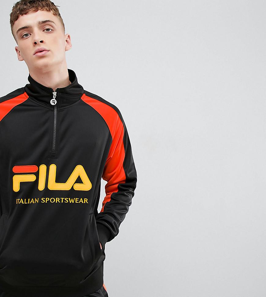 abe95a9d8ab6 Fila 1/4 Zip Track Poly Tricot Sweatshirt With Large Logo In Black ...