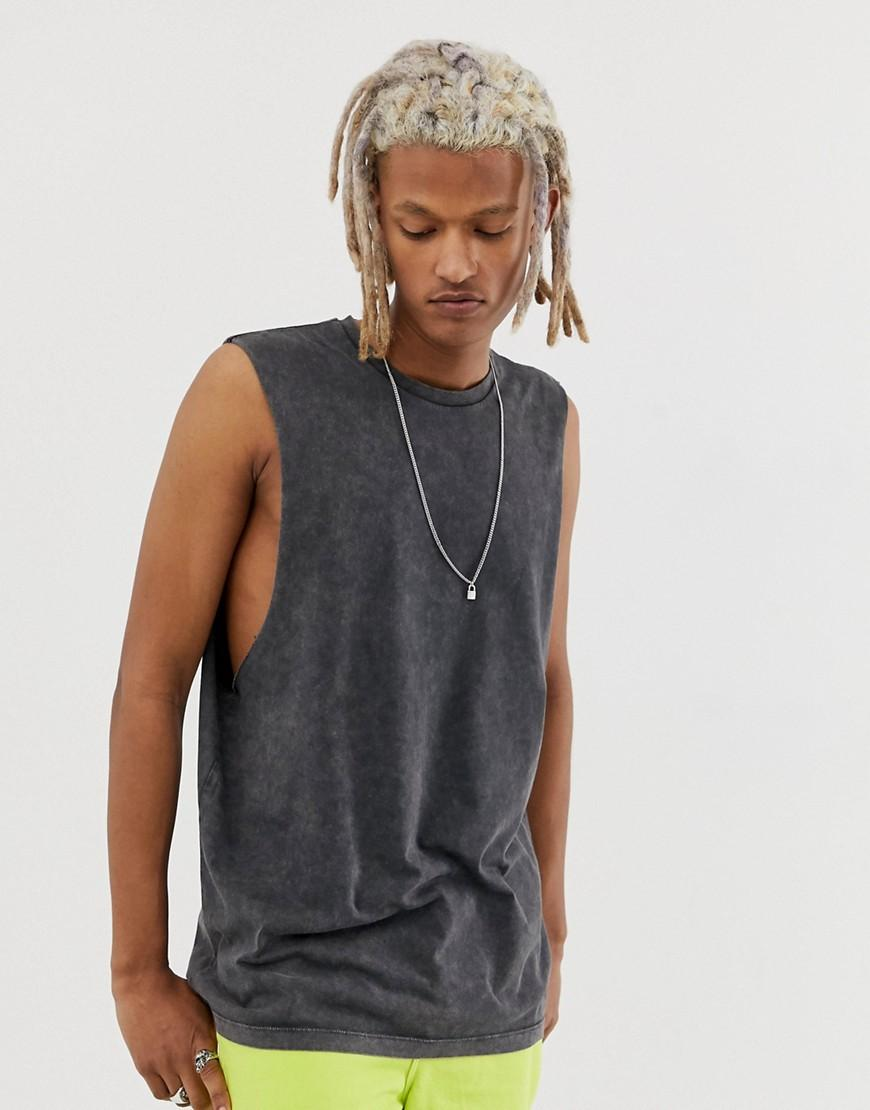 c2aafe03 ASOS. Men's Gray Relaxed Sleeveless T-shirt With Dropped Armhole In Acid  Wash