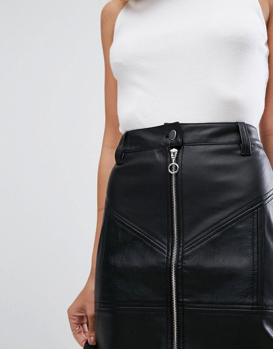 b8c67a47b Zip Front Leather Look Mini Skirt
