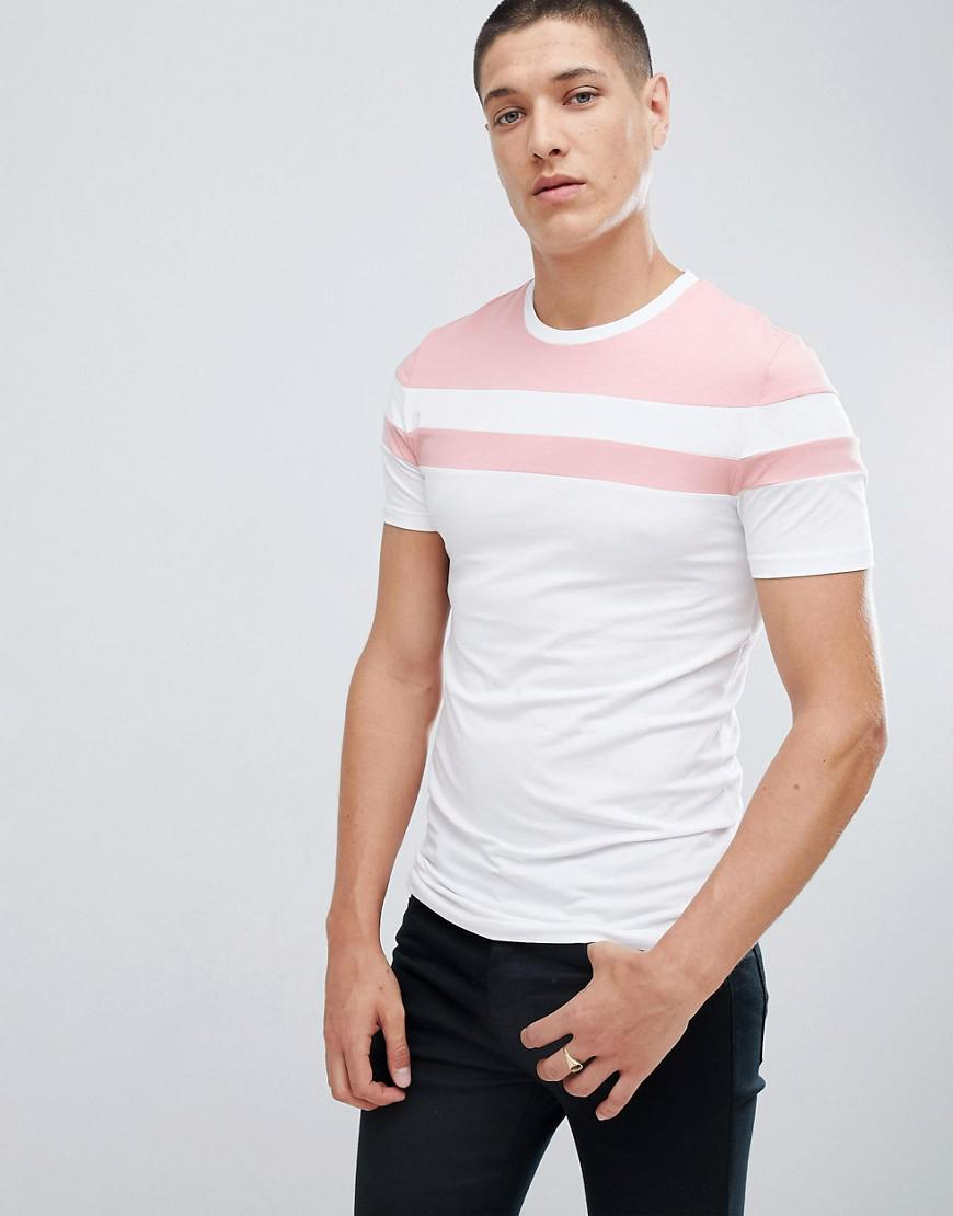 New DESIGN muscle t-shirt with chevron polytricot in white - White Asos From China For Sale Clearance Prices mKum5