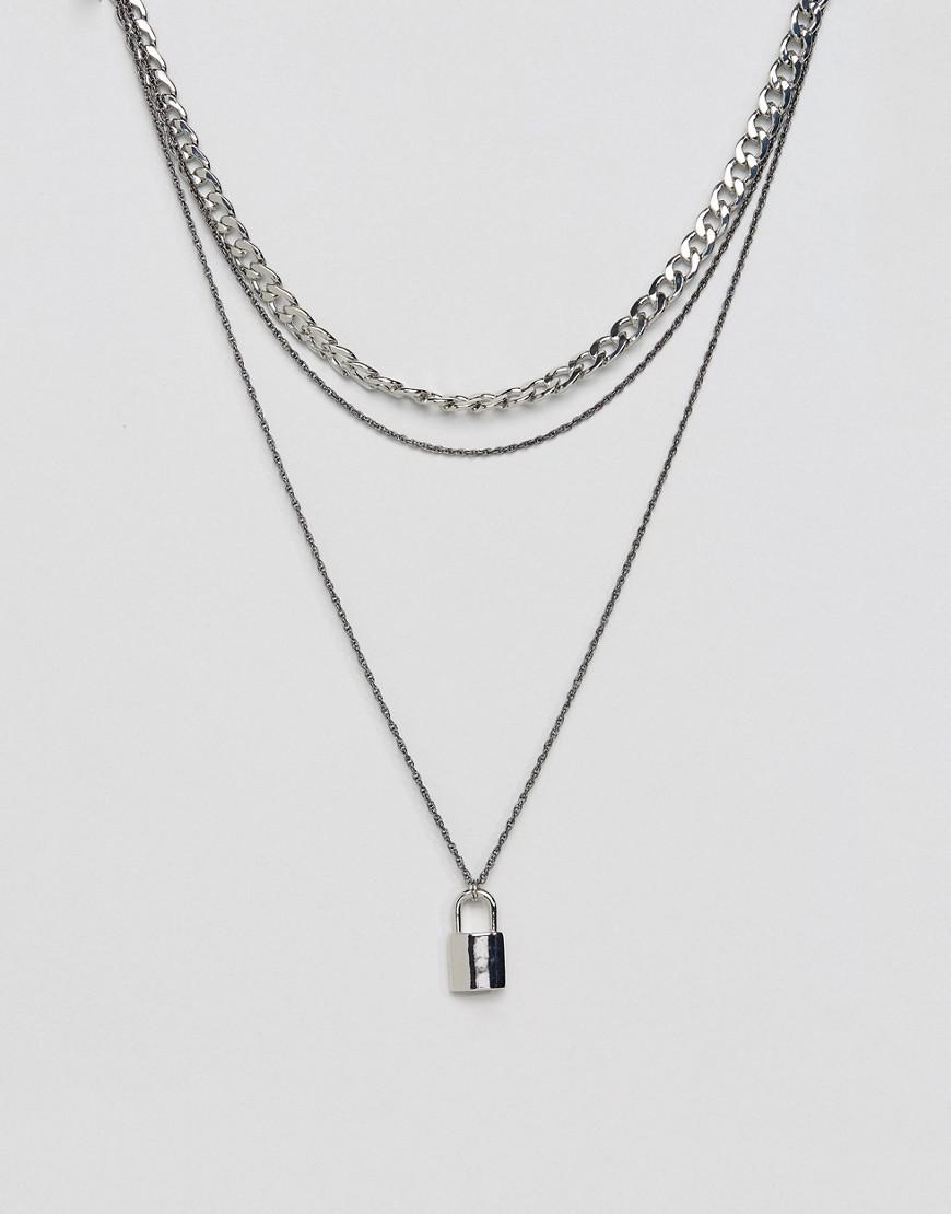 Double Layer Neckchain With Fluro Yellow Finish - Silver Asos