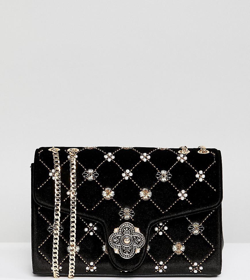 e2310a3e03d0d Dune Erabia Black Velvet Embroidered Cross Body Bag With Clasp ...