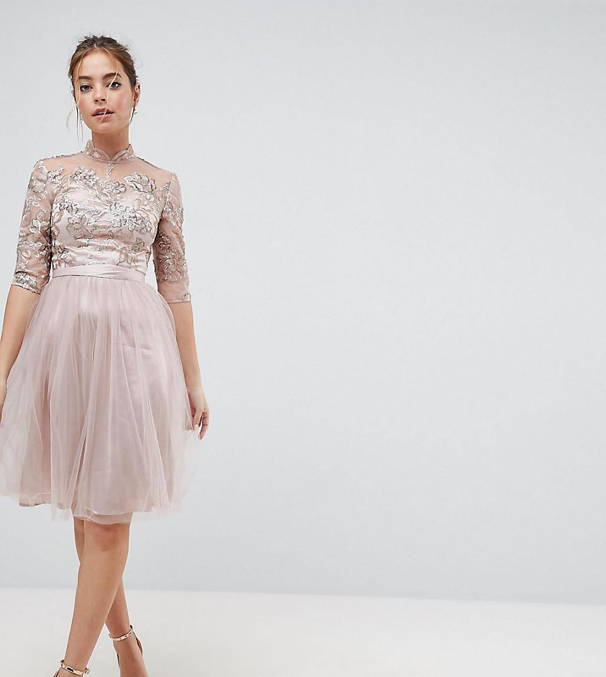 26a29529c2757 Chi Chi London Midi Dress With Tulle Skirt And Lace Back